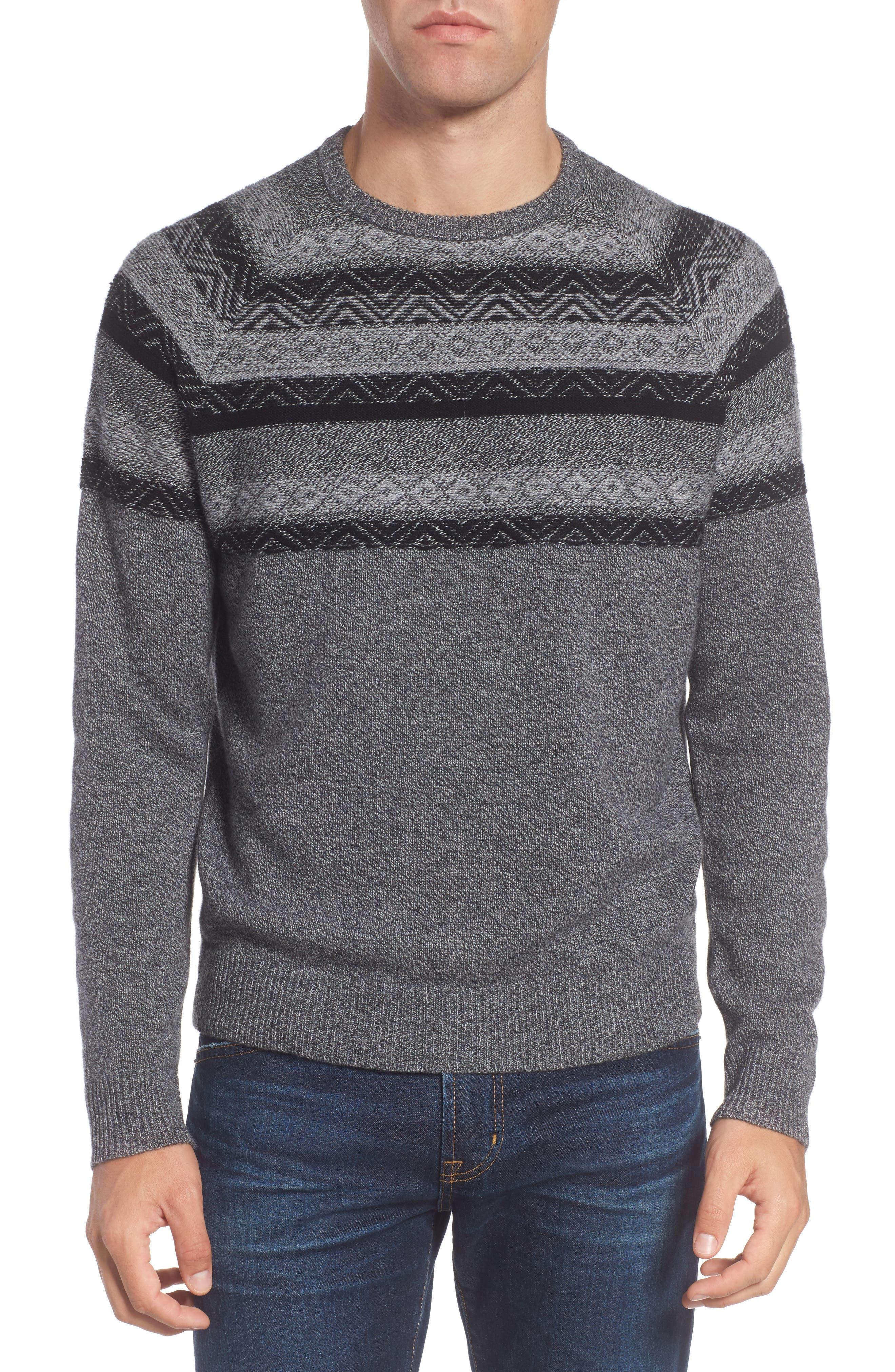 Pattern Wool & Cashmere Sweater,                         Main,                         color, Grey Phantom