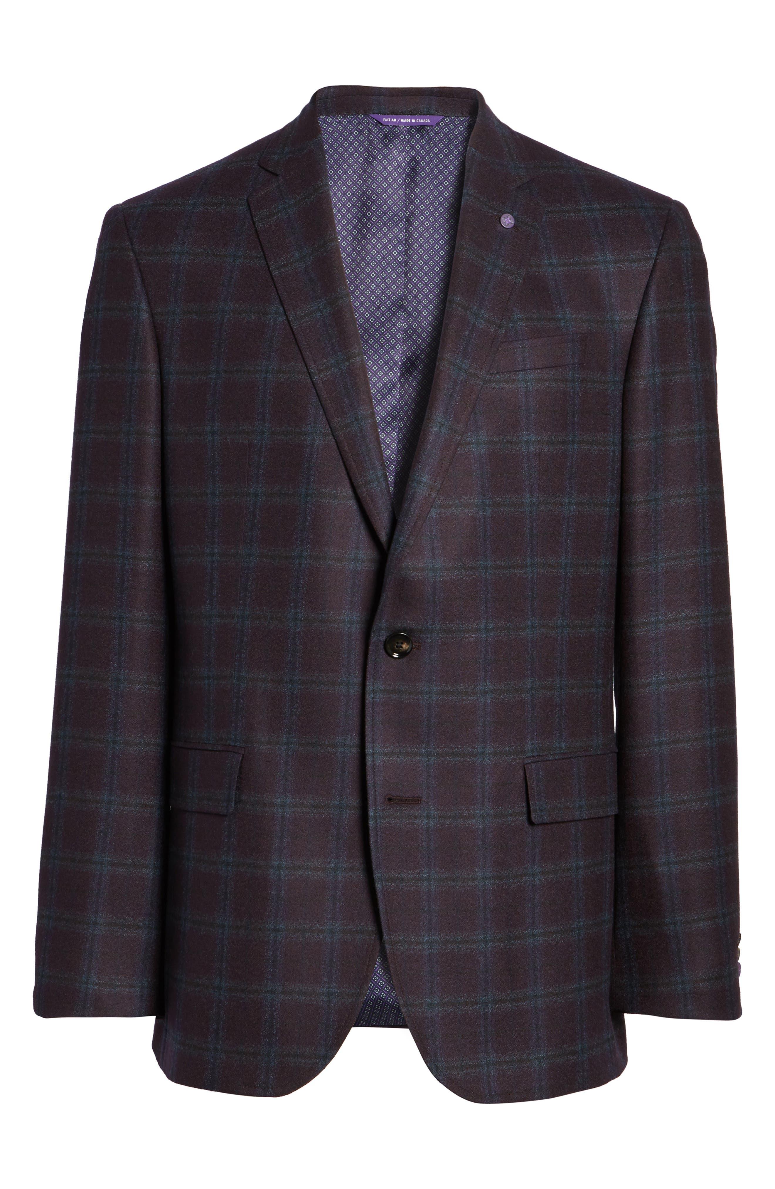 Alternate Image 6  - Ted Baker London Trim Fit Plaid Wool Sport Coat