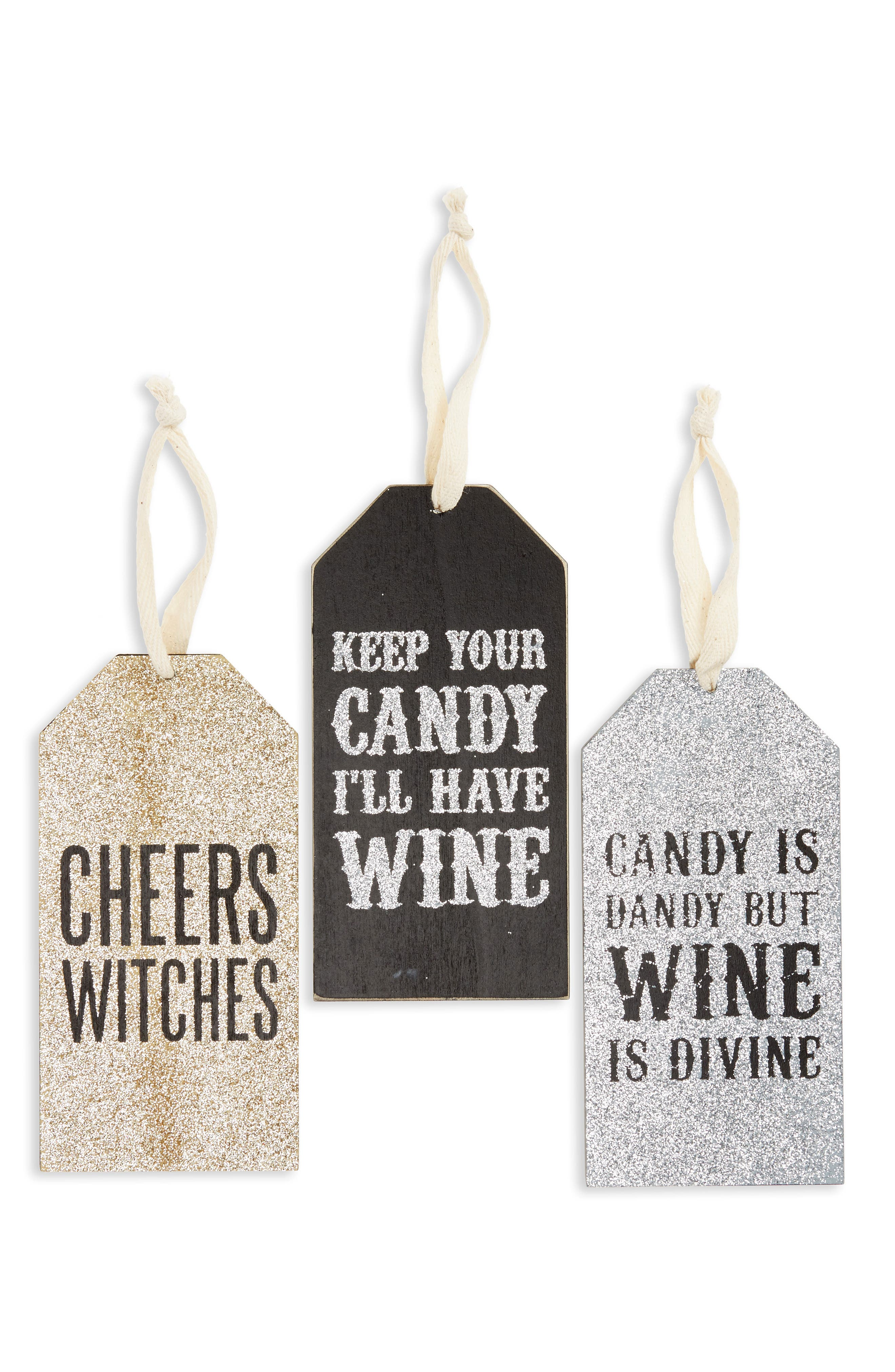 Halloween Set of 3 Wine Bottle Tags,                         Main,                         color, Black