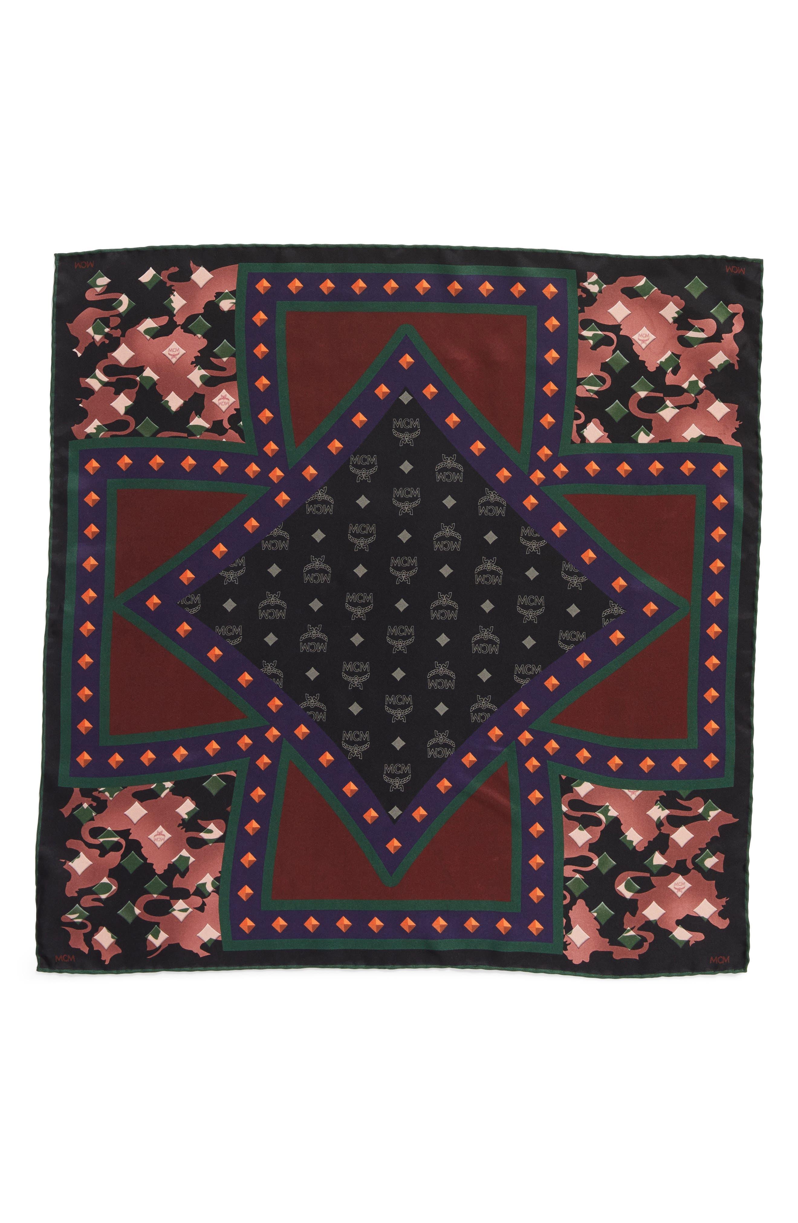 MCM Tarot Camo Print Silk Square Scarf