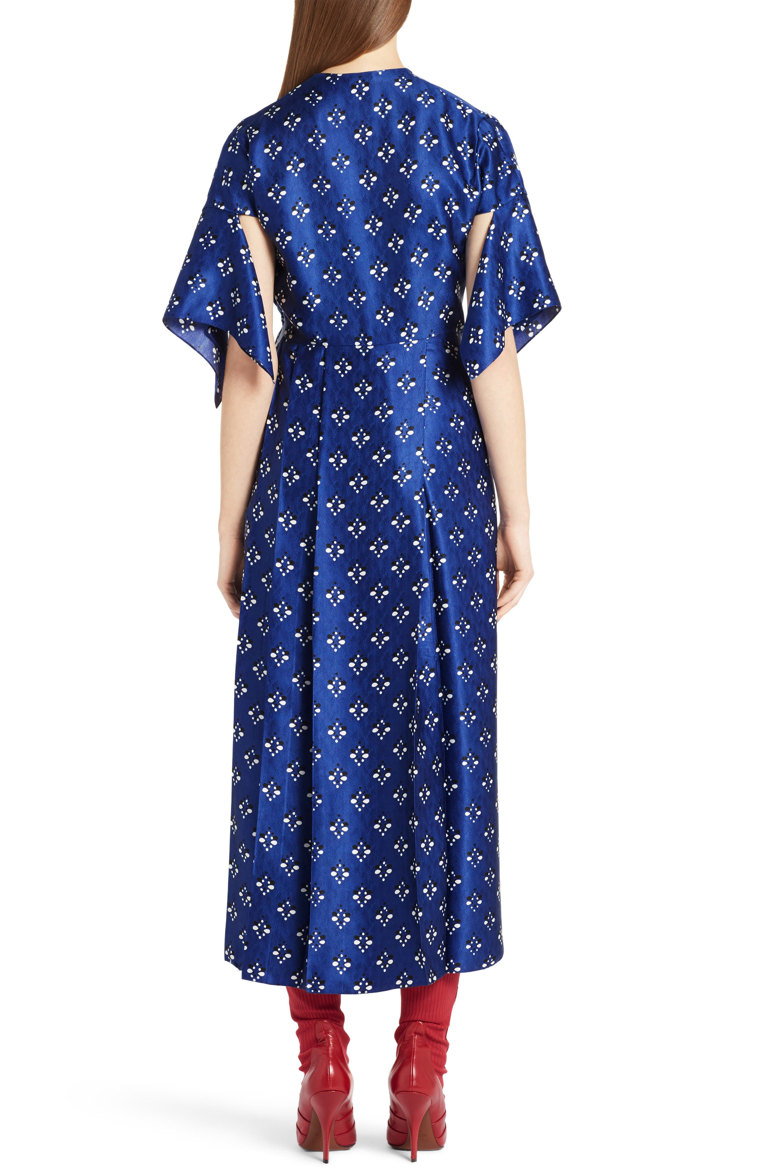 Drops Print Silk Dress,                             Alternate thumbnail 2, color,                             Blue Print