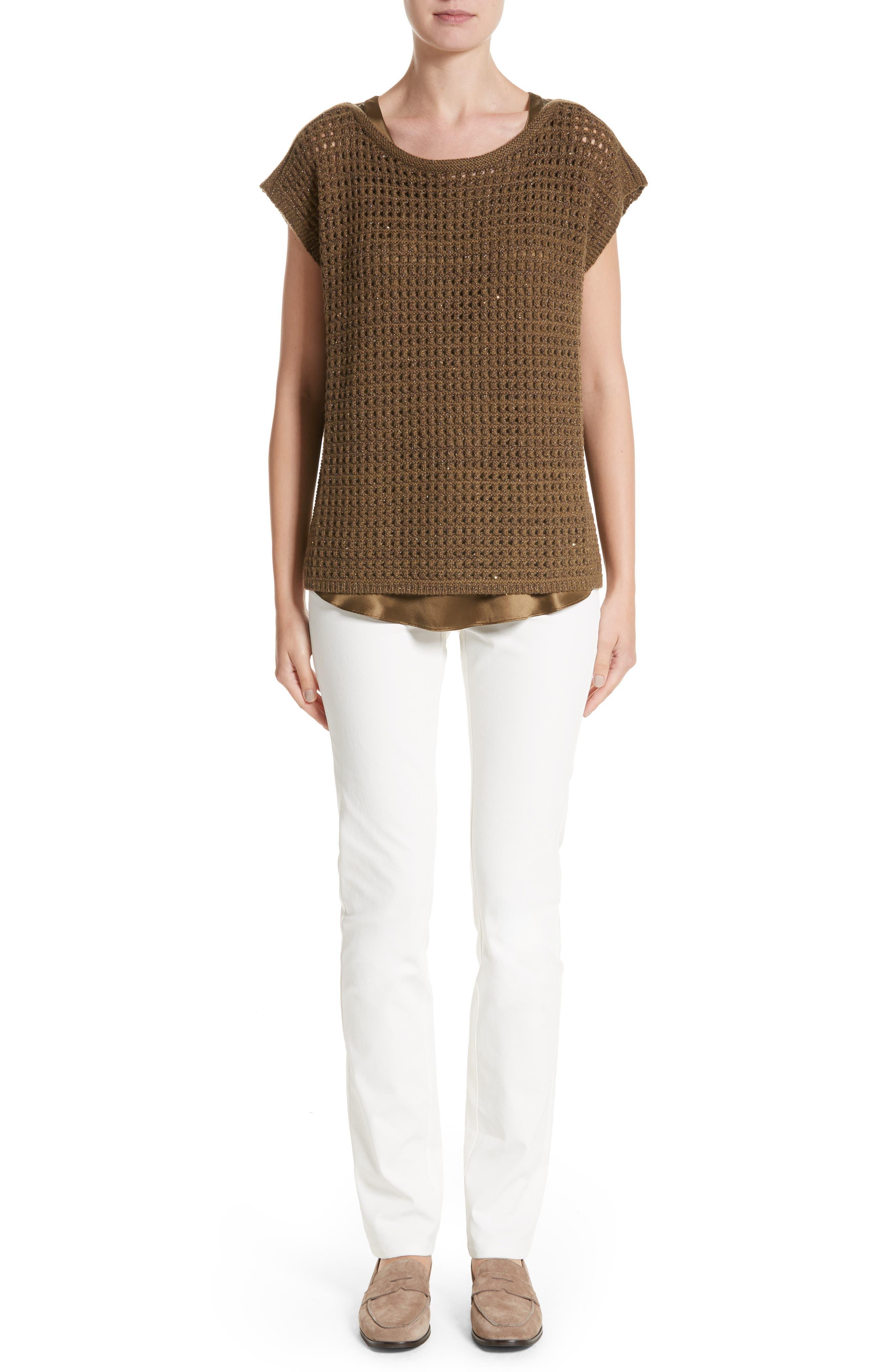 Alternate Image 7  - Lafayette 148 New York Cashmere Open Stitch Sequin Sweater