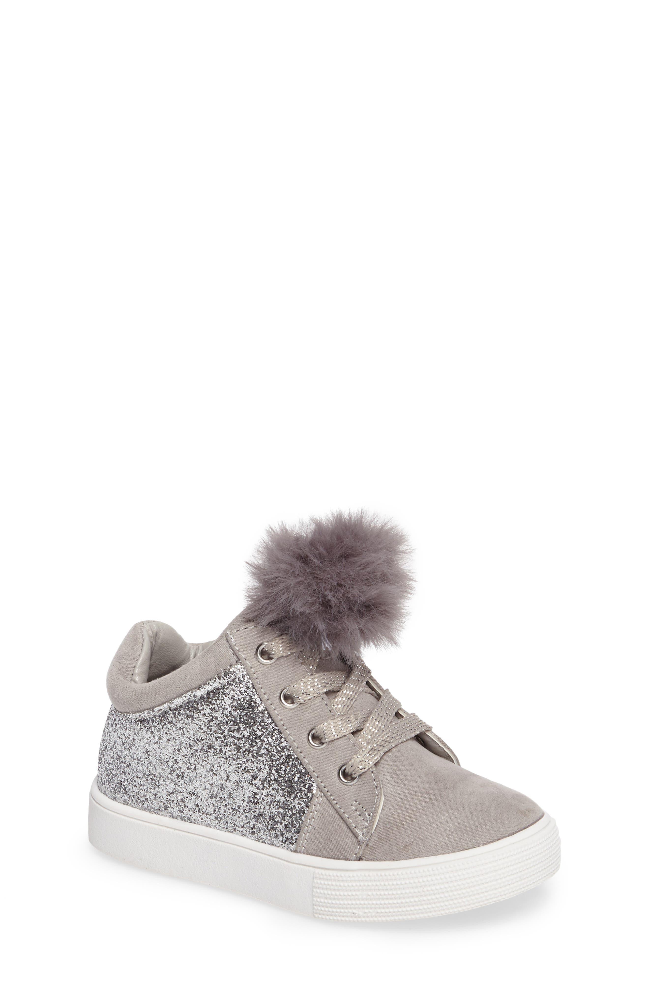 Kam Kid Faux Fur Glitter Sneaker,                             Main thumbnail 1, color,                             Light Grey