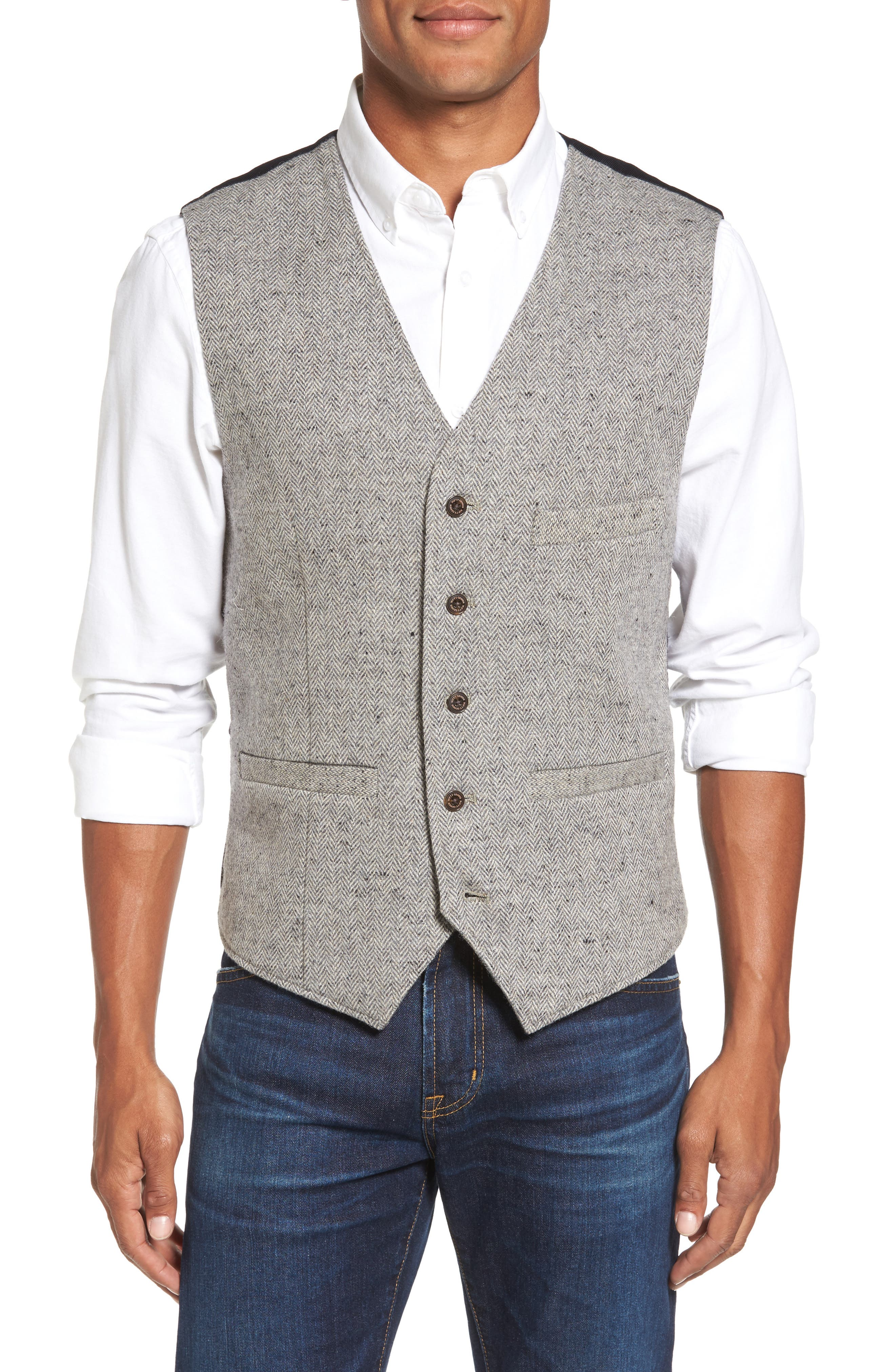 Nifty Genius Albert Herringbone Wool Blend Vest