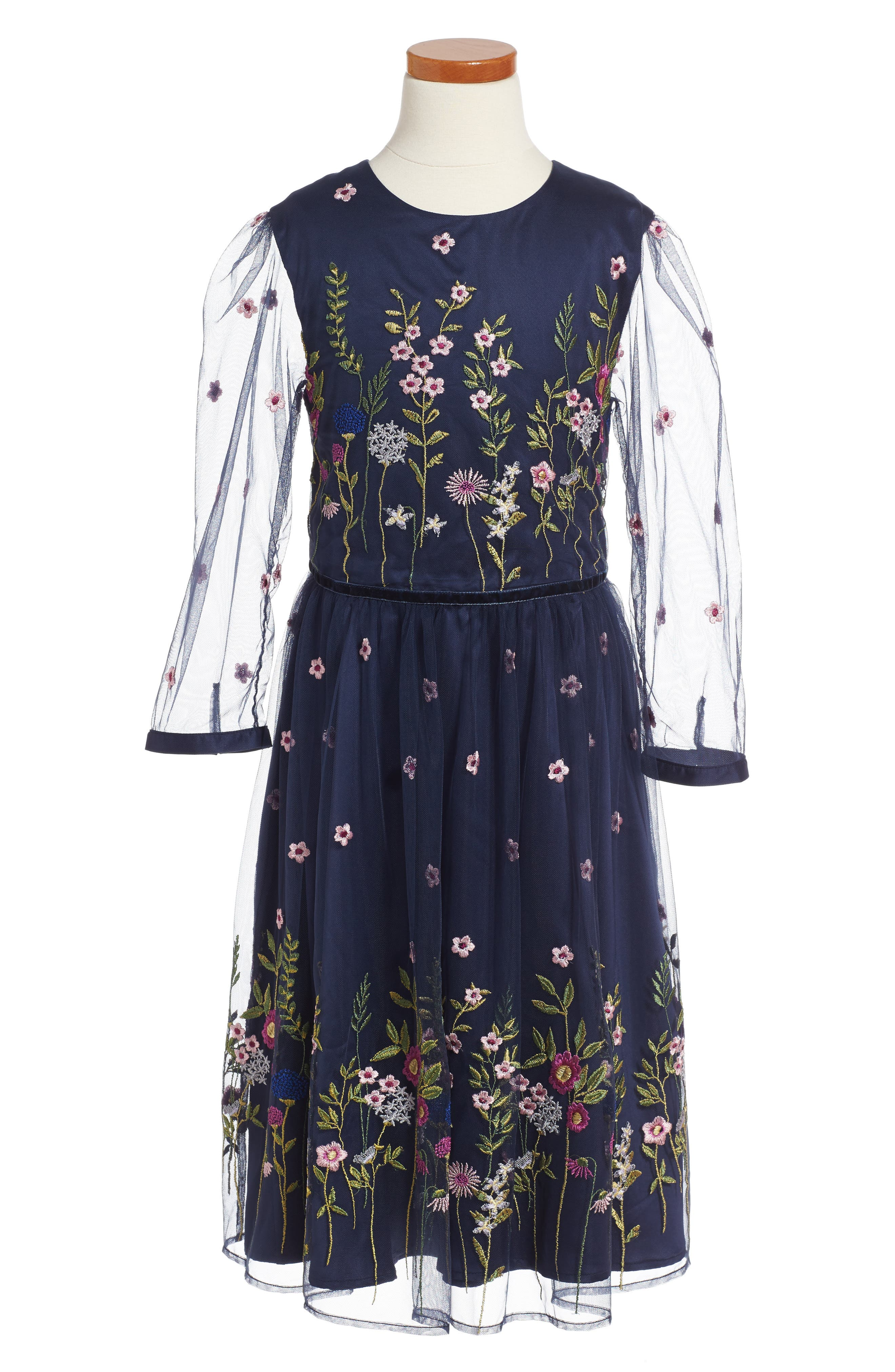 Meadow Embroidered Dress,                         Main,                         color, Navy
