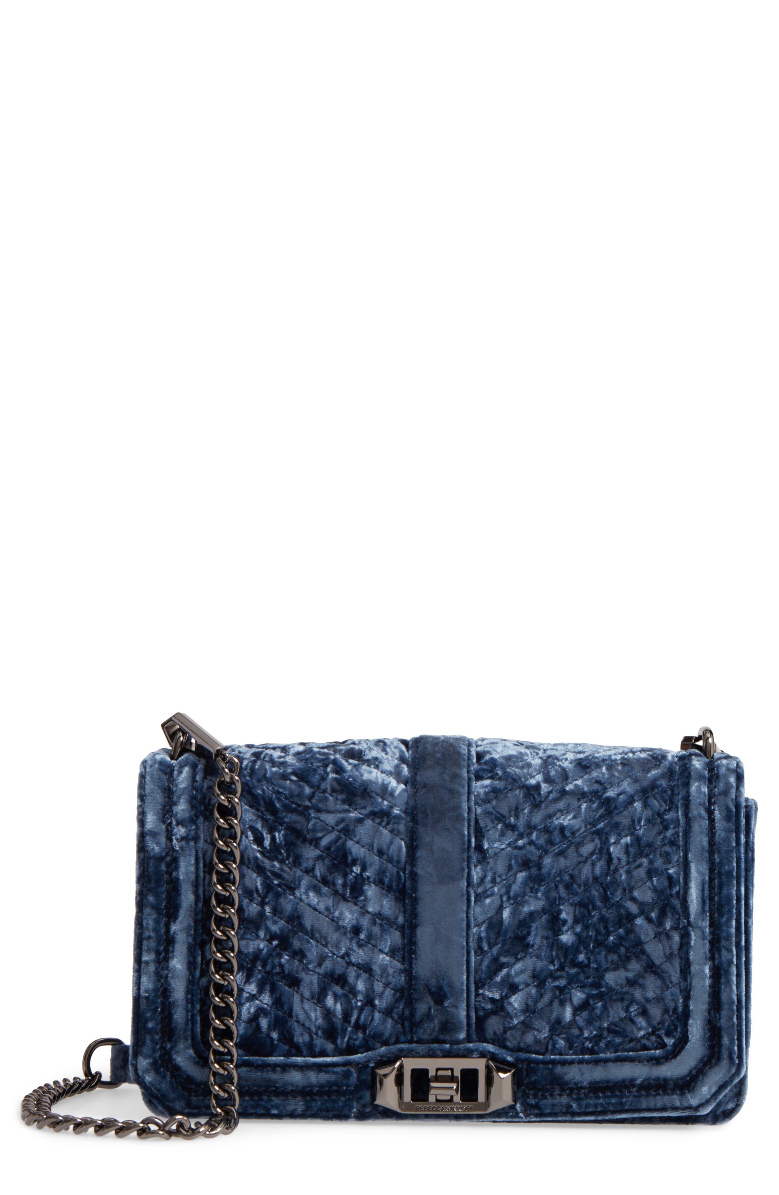 Love Velvet Quilted Crossbody Bag,                         Main,                         color, Blue