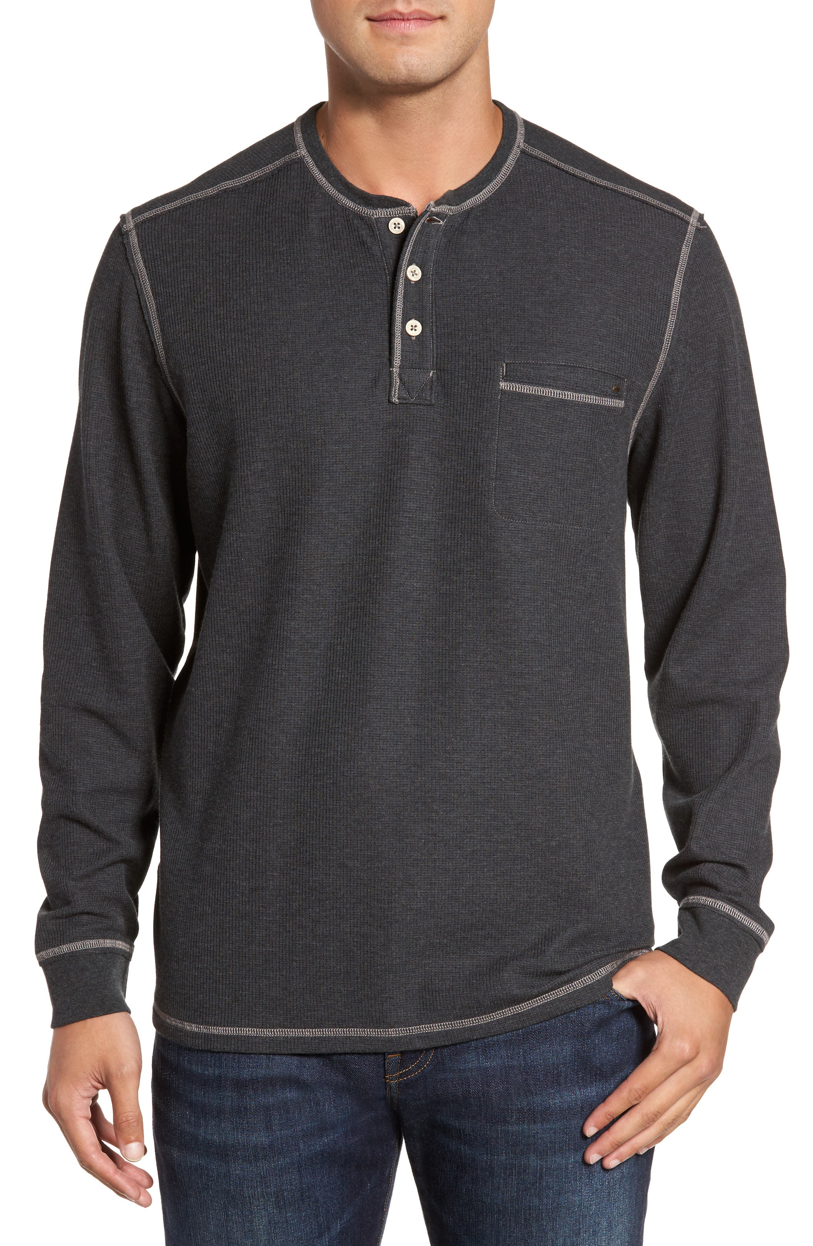 Island Thermal Henley,                         Main,                         color, Charcoal Heather
