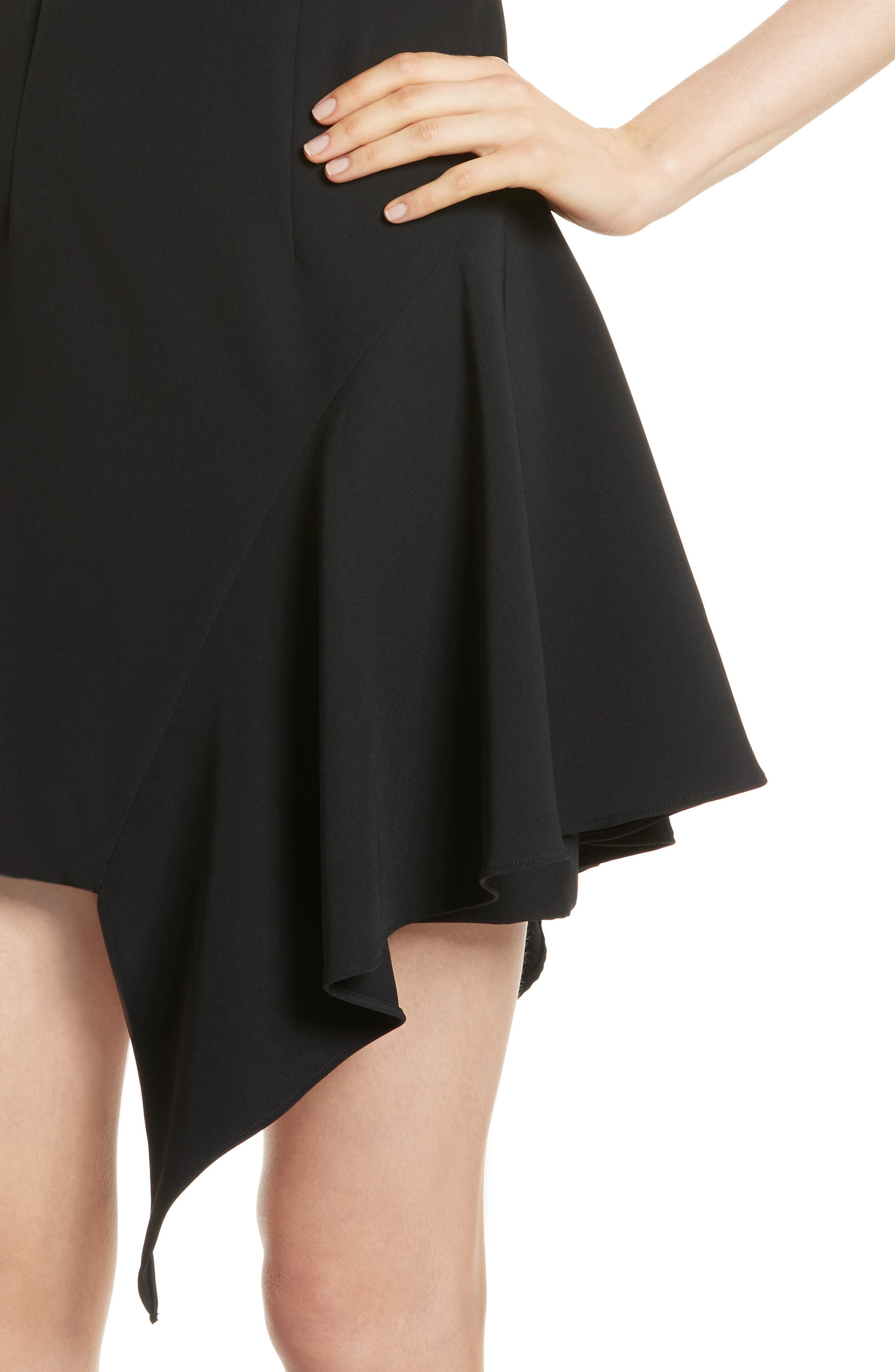 Asymmetrical Ruffle Stretch Cady Dress,                             Alternate thumbnail 4, color,                             Black