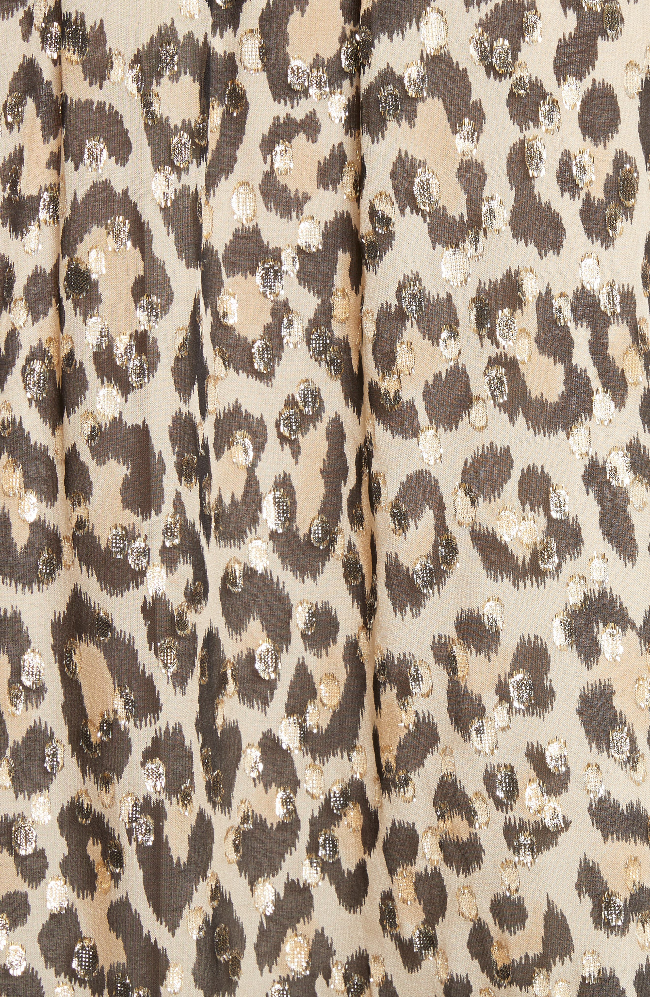 leopard metallic clip jacquard top,                             Alternate thumbnail 5, color,                             Classic Camel