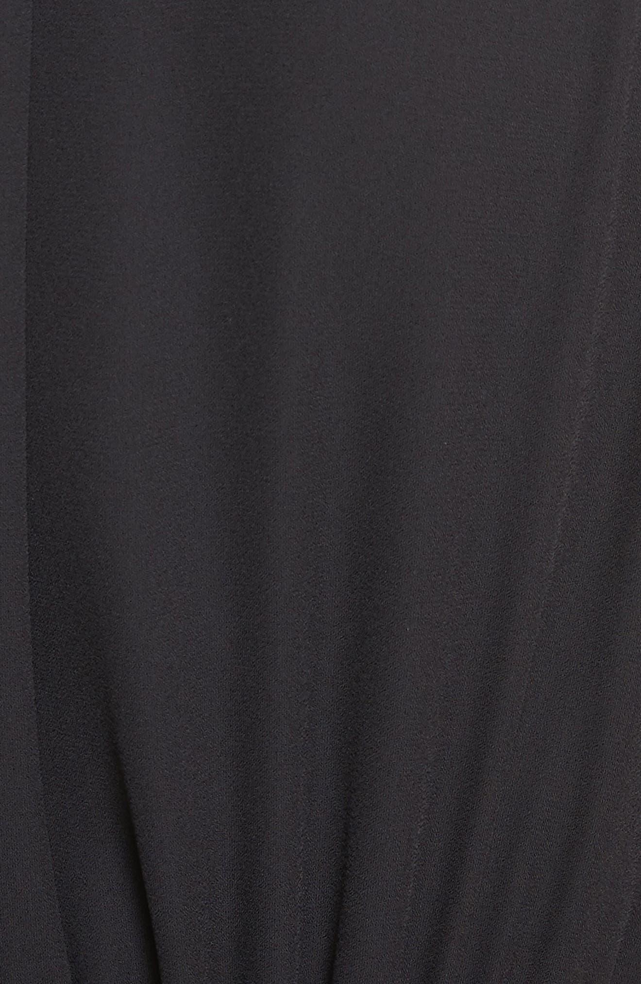 mixed velvet crop jumpsuit,                             Alternate thumbnail 5, color,                             Black
