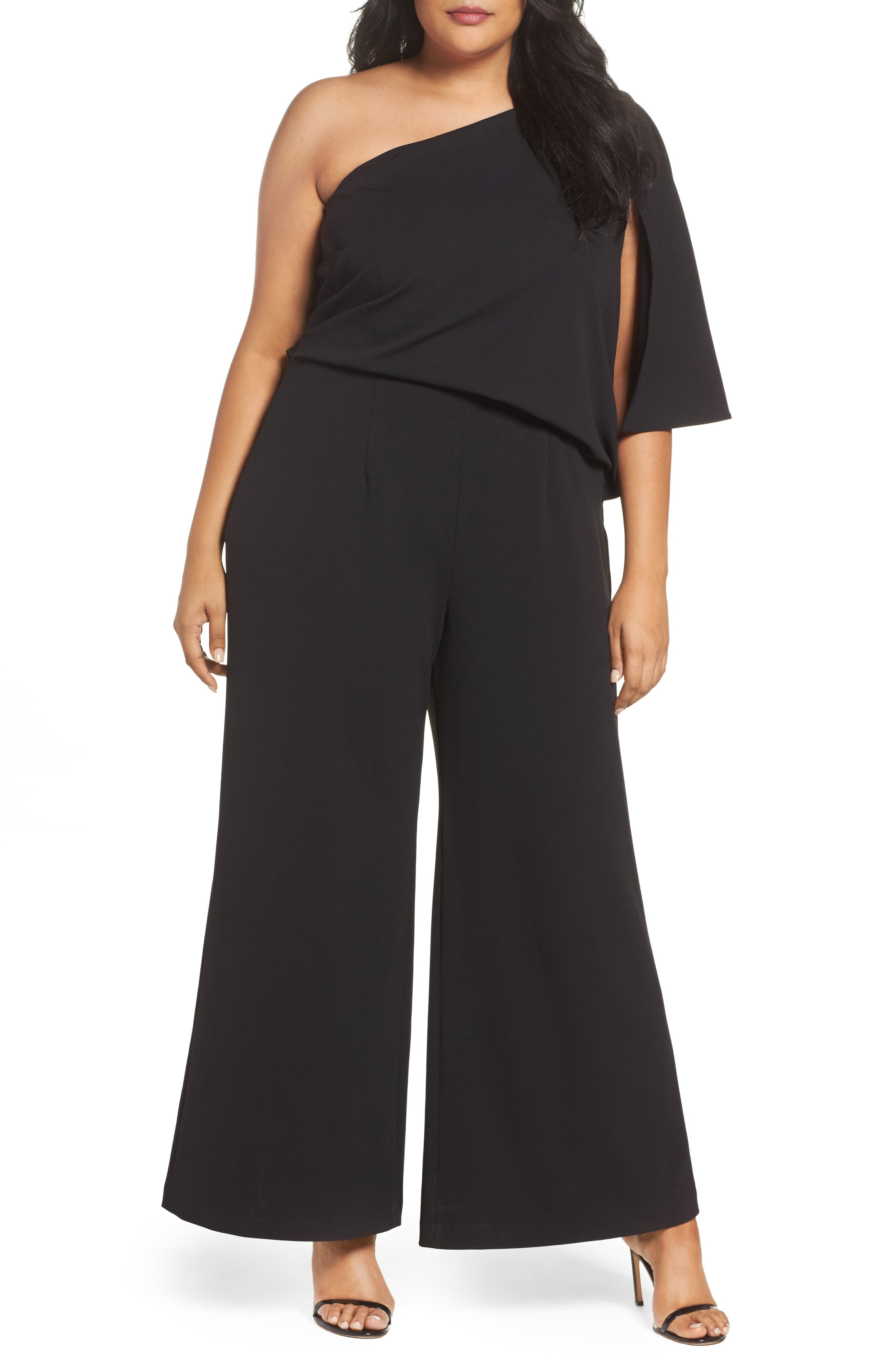 Adrianna Papell One-Shoulder Knit Crepe Jumpsuit (Plus Size)