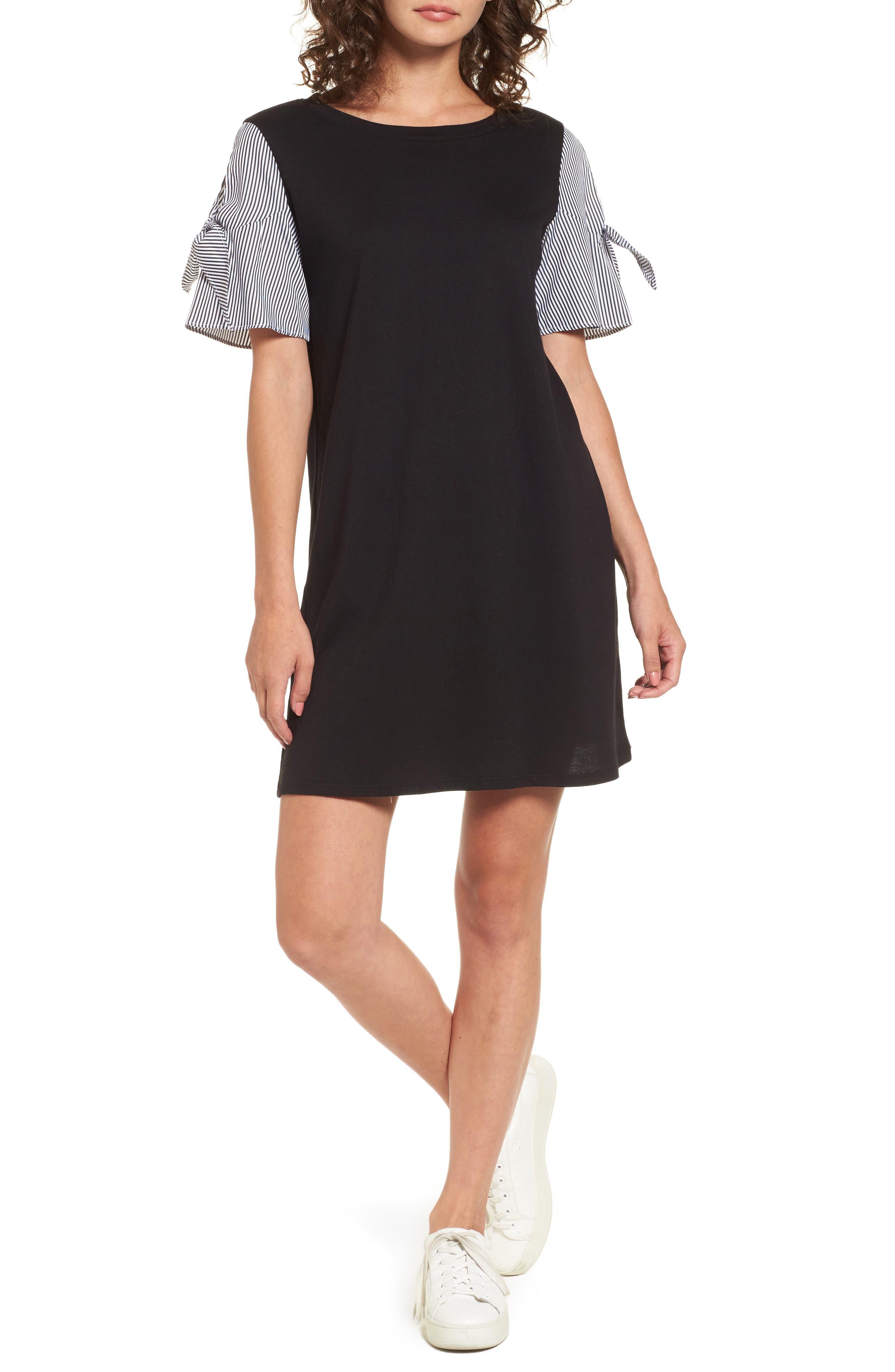 Poplin Sleeve Knit Dress,                         Main,                         color, Black