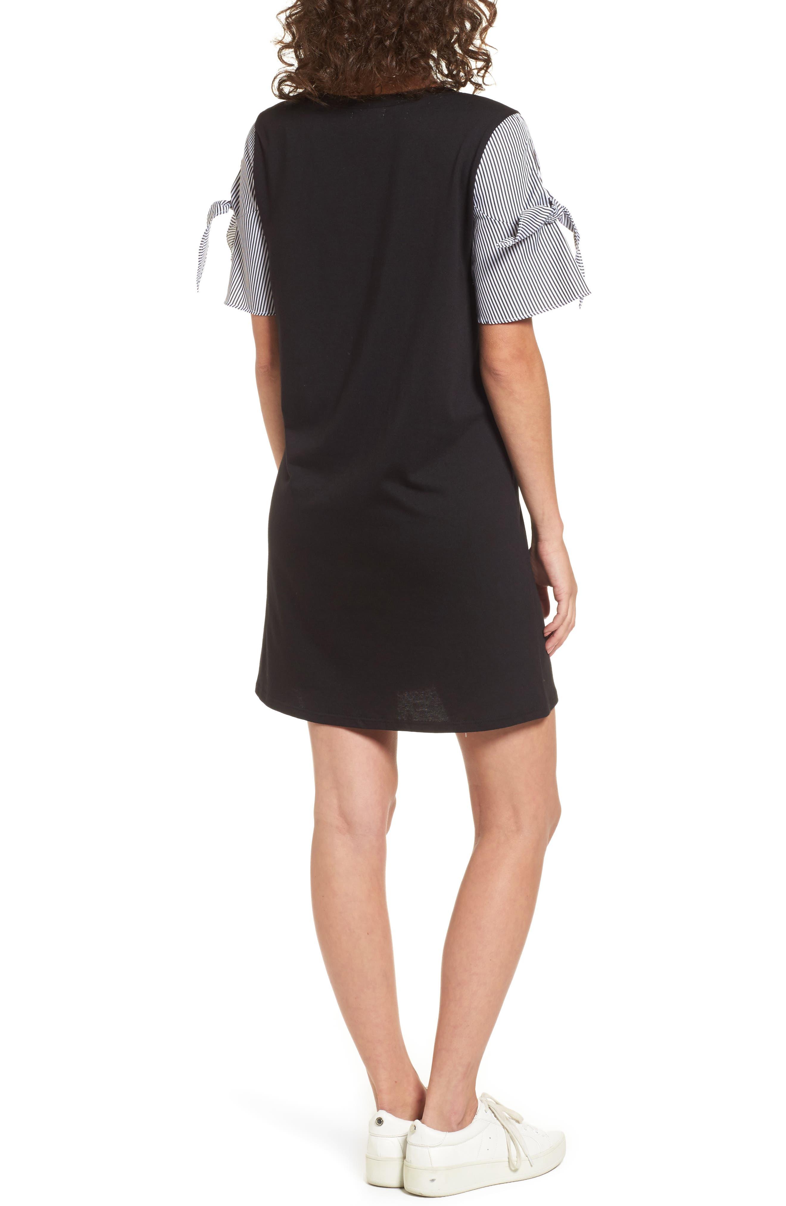 Poplin Sleeve Knit Dress,                             Alternate thumbnail 2, color,                             Black