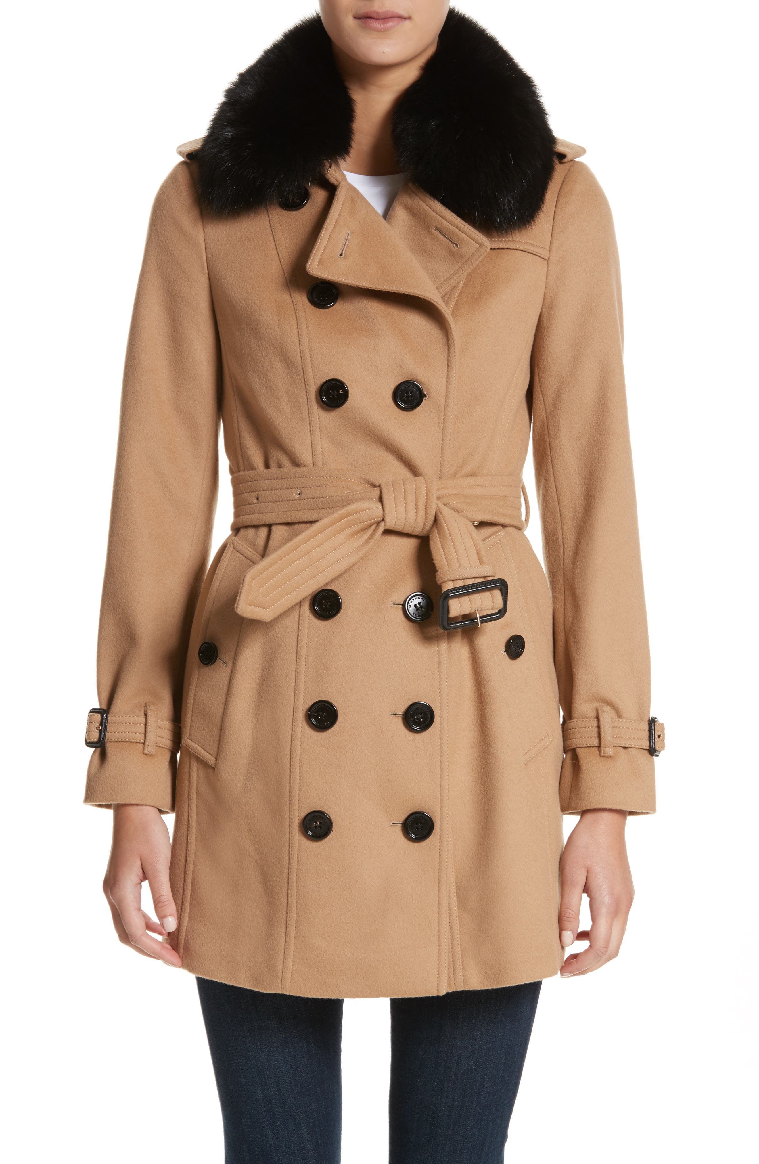 Burberry Sandringham Wool & Cashmere Trench Coat with Removable Genuine Fox Fur Collar
