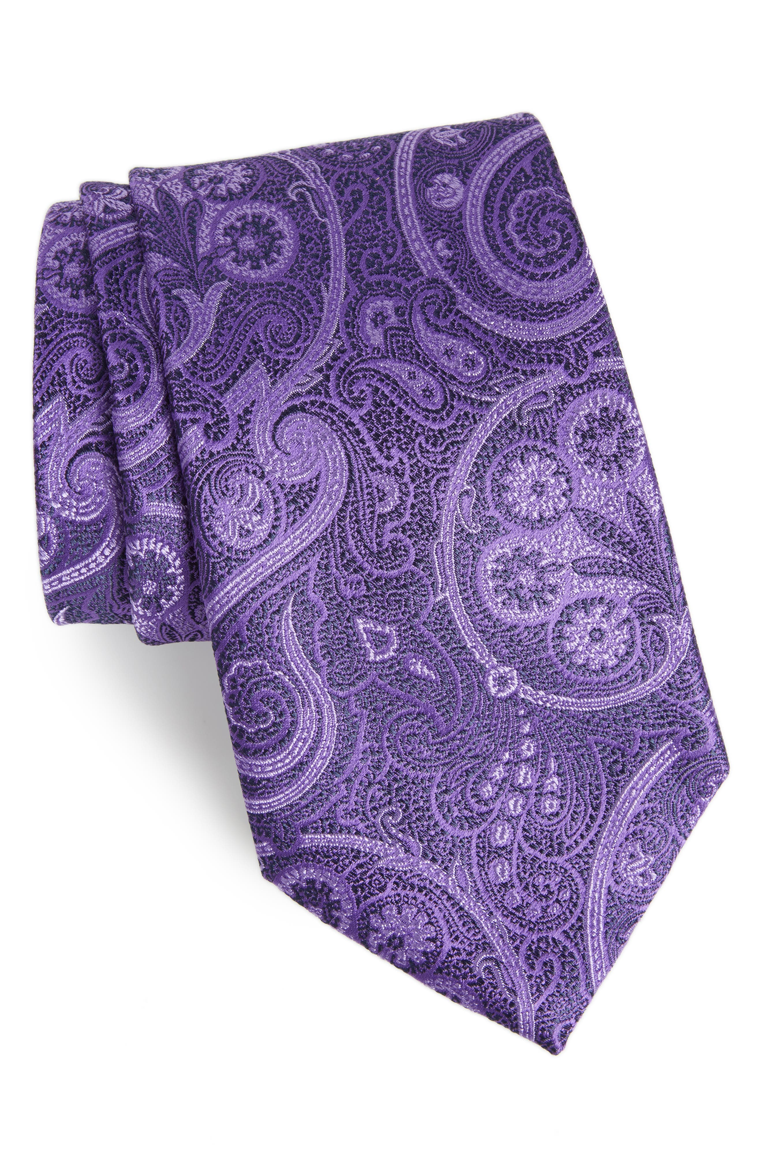 Provincial Paisley Silk Tie,                         Main,                         color, Purple