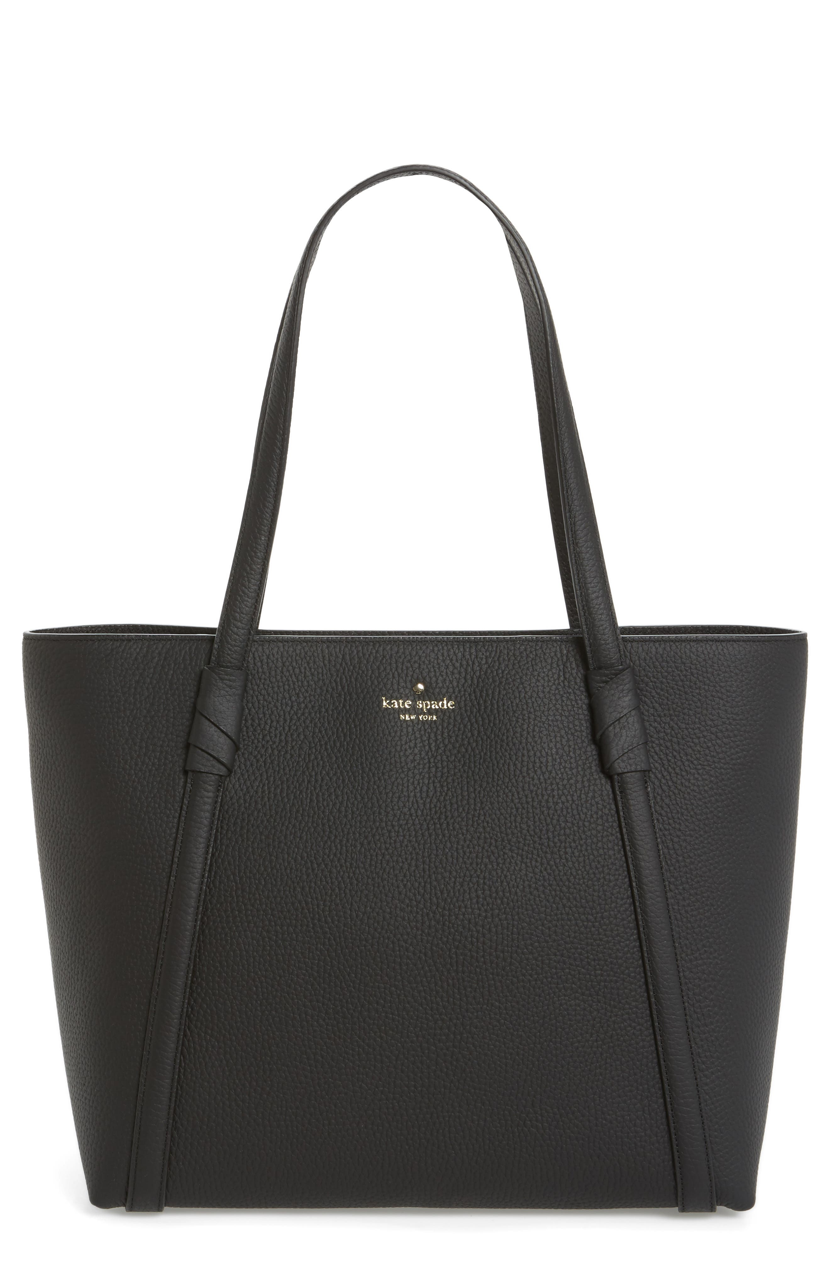 daniels drive - cherie leather tote,                             Main thumbnail 1, color,                             Black