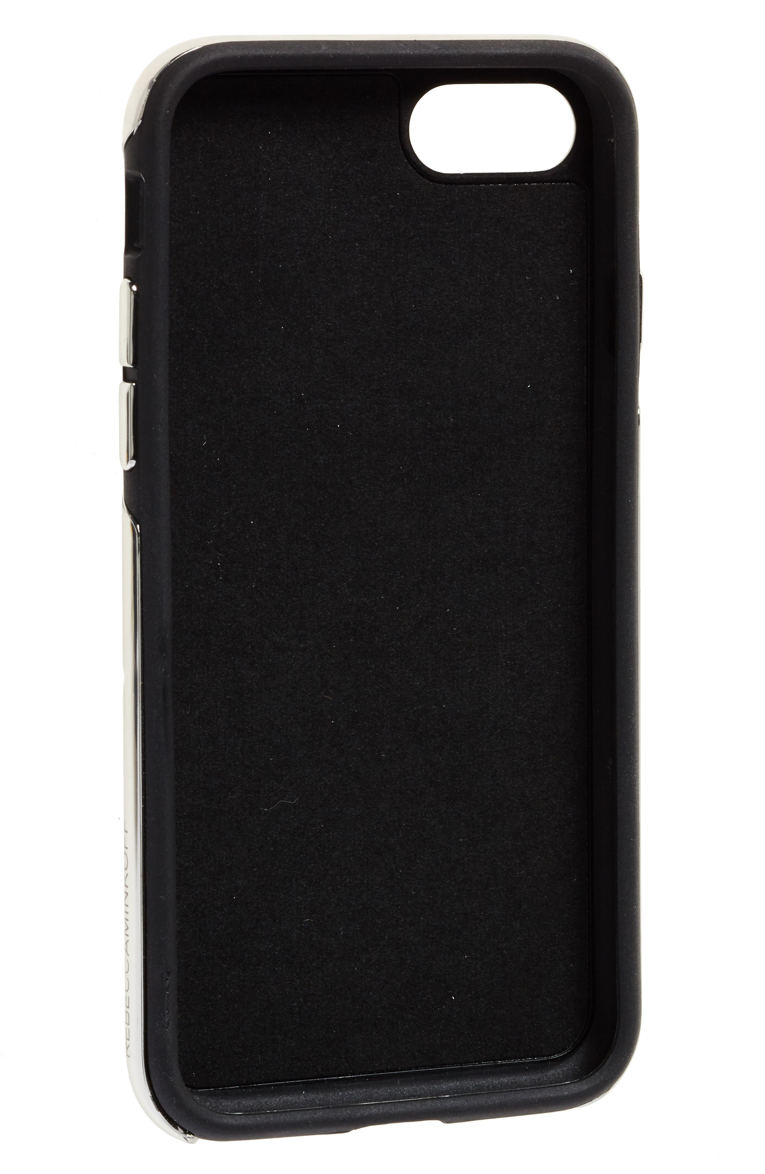 Luxe Double Up Embroidered iPhone 7/8 Case,                             Alternate thumbnail 2, color,                             Black Floral