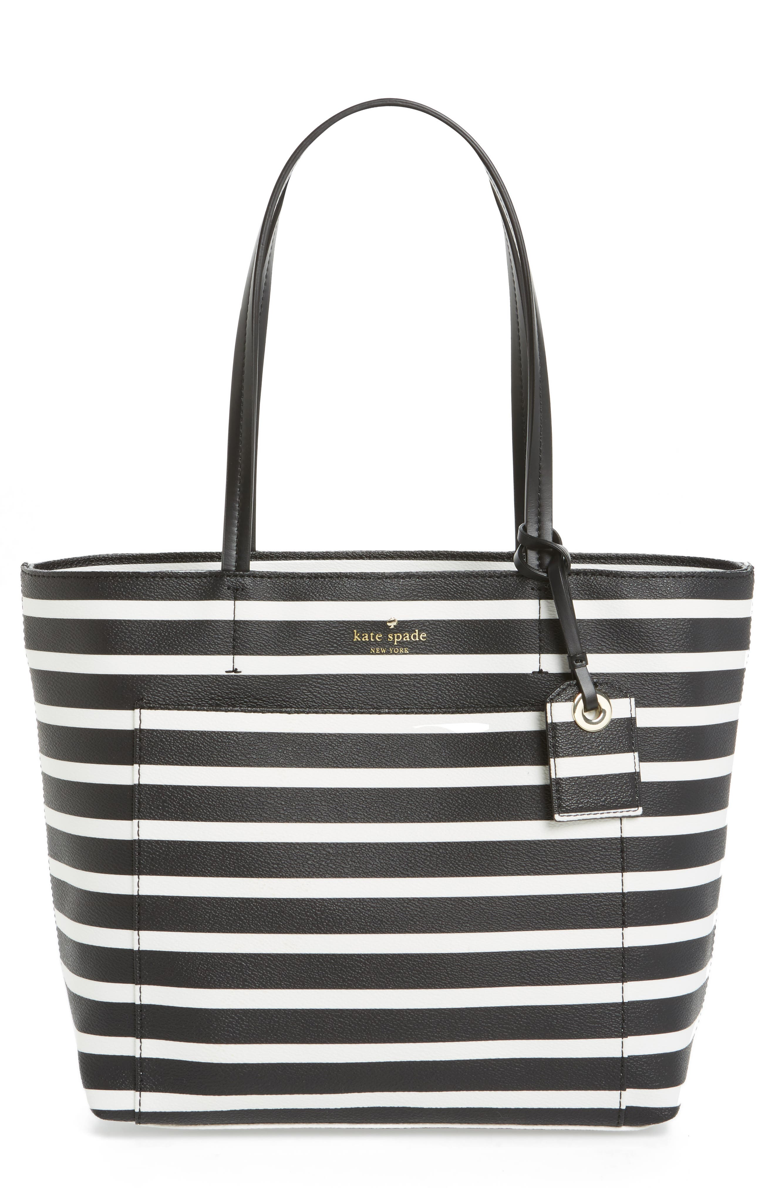 hyde lane - small riley faux leather tote,                         Main,                         color, Black/ Off White