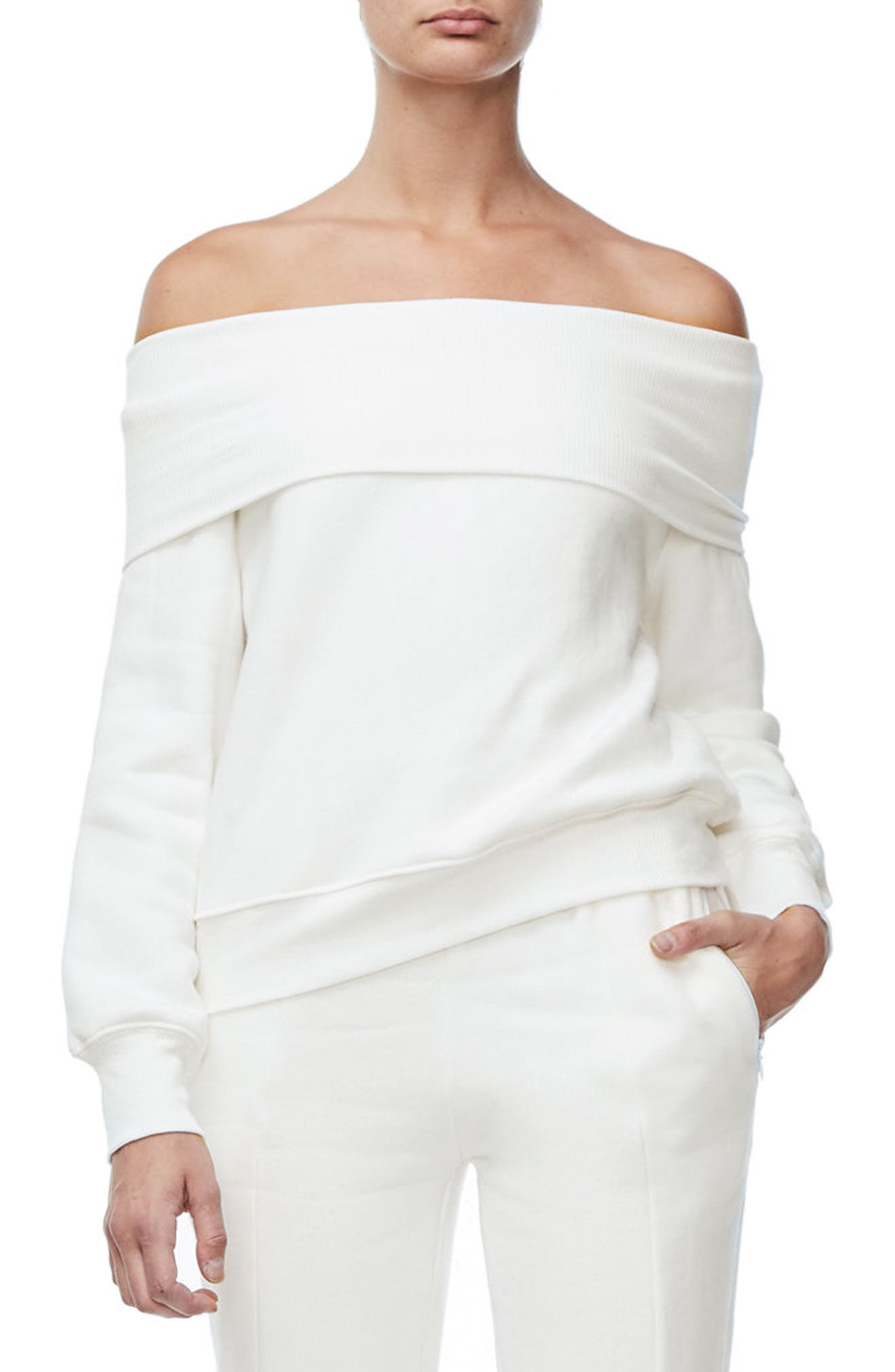 Main Image - Good American Good Sweats The Cold Shoulder Sweatshirt (Regular & Plus Size)
