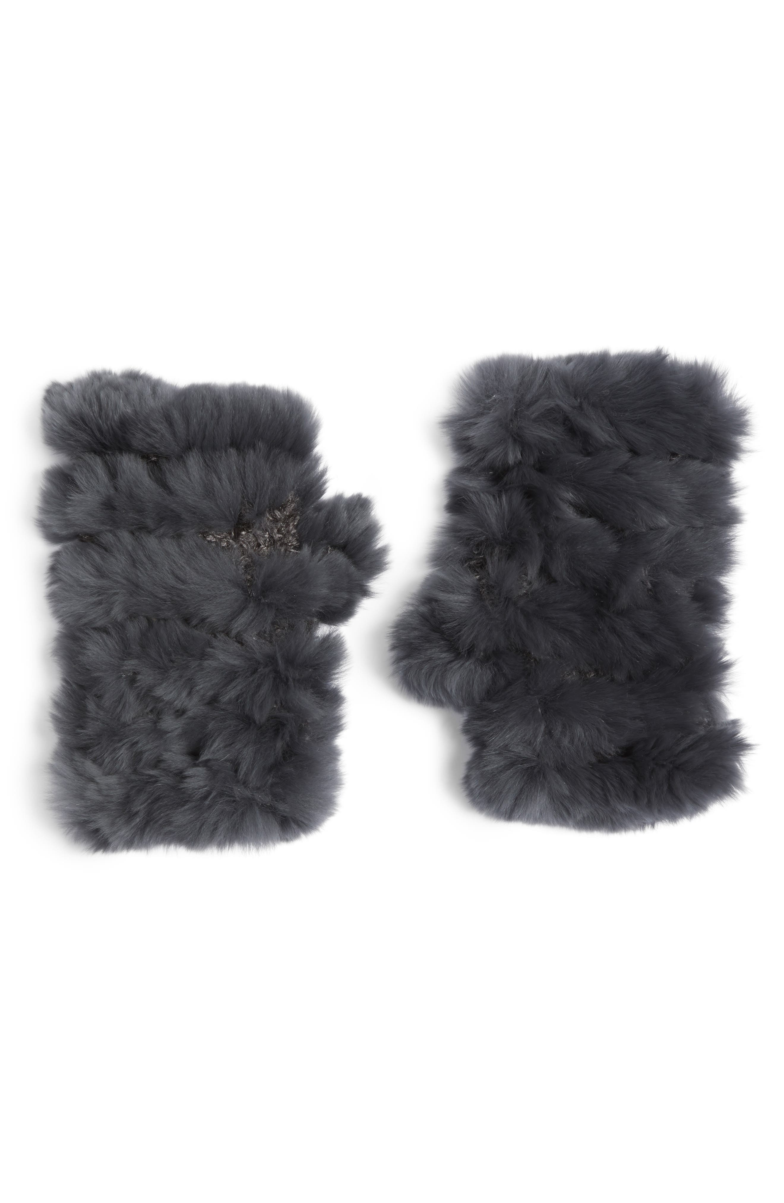 Genuine Rabbit Fur Fingerless Knit Mittens,                         Main,                         color, Charcoal