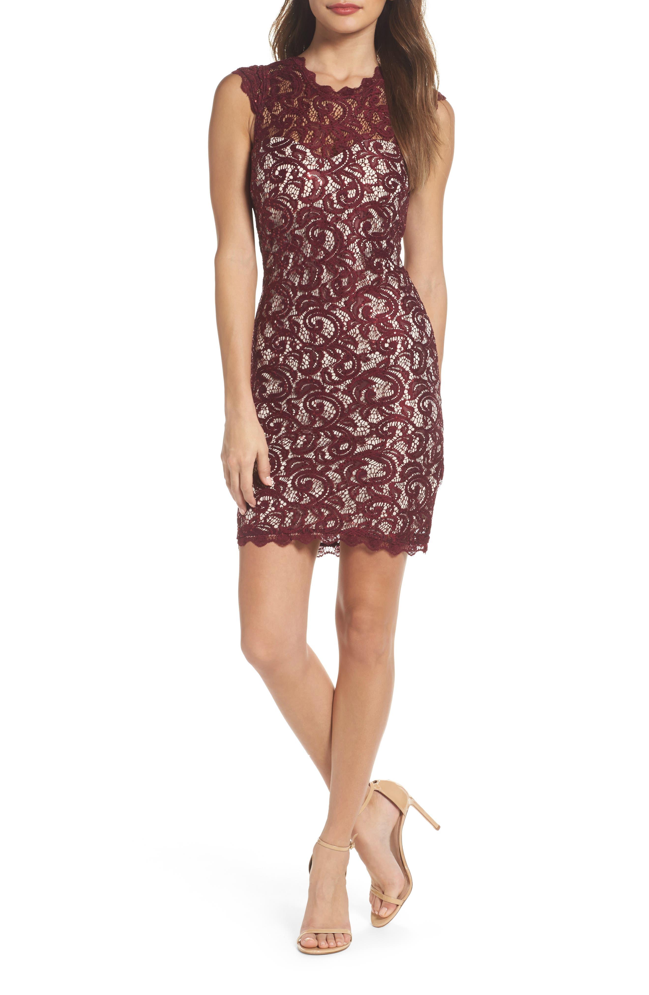 Sequin Lace Body-Con Dress,                         Main,                         color, Malbec/ Nude