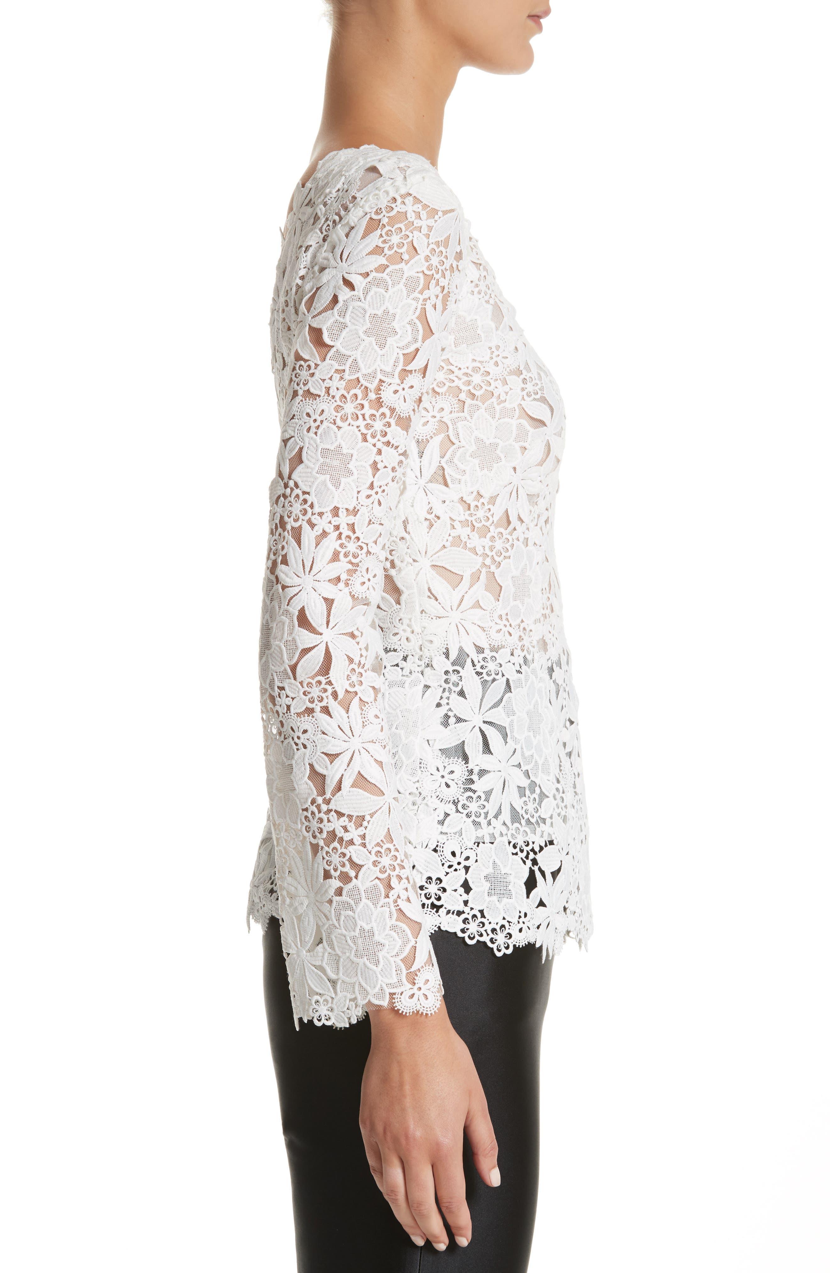 Guipure Lace Top,                             Alternate thumbnail 3, color,                             Silk White