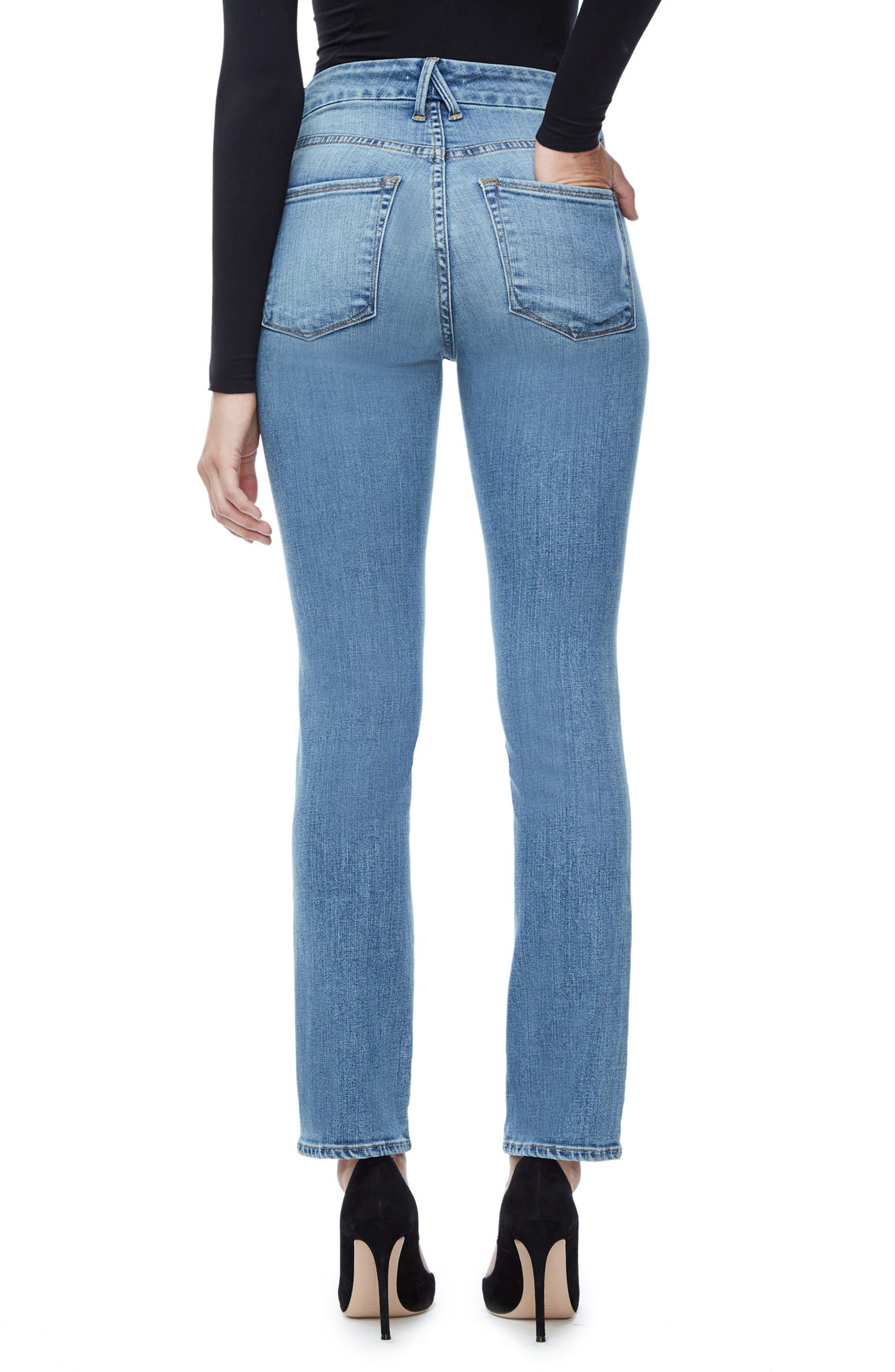 Alternate Image 2  - Good American Good Straight High Rise Jeans (Blue 087) (Regular & Plus Size)