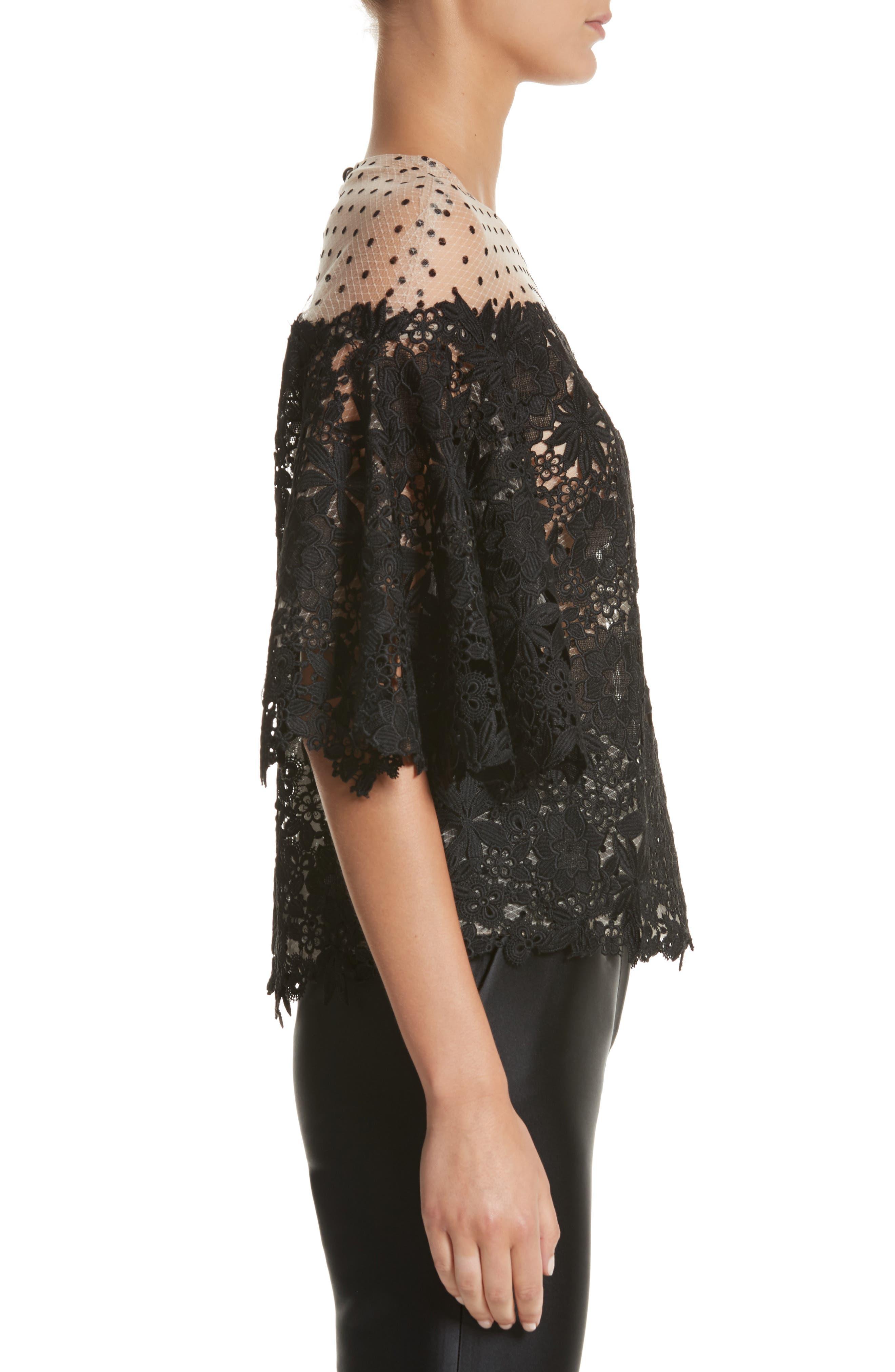 Alternate Image 3  - Monique Lhuillier Lace & Dot Flutter Sleeve Top