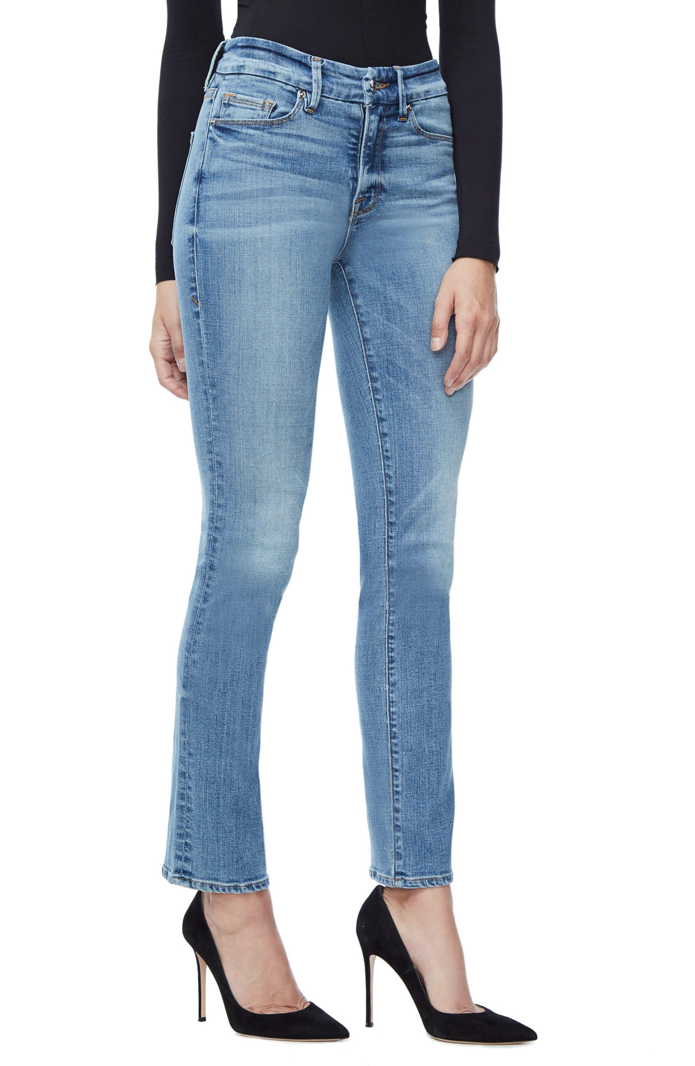 Alternate Image 5  - Good American Good Straight High Rise Jeans (Blue 087) (Regular & Plus Size)