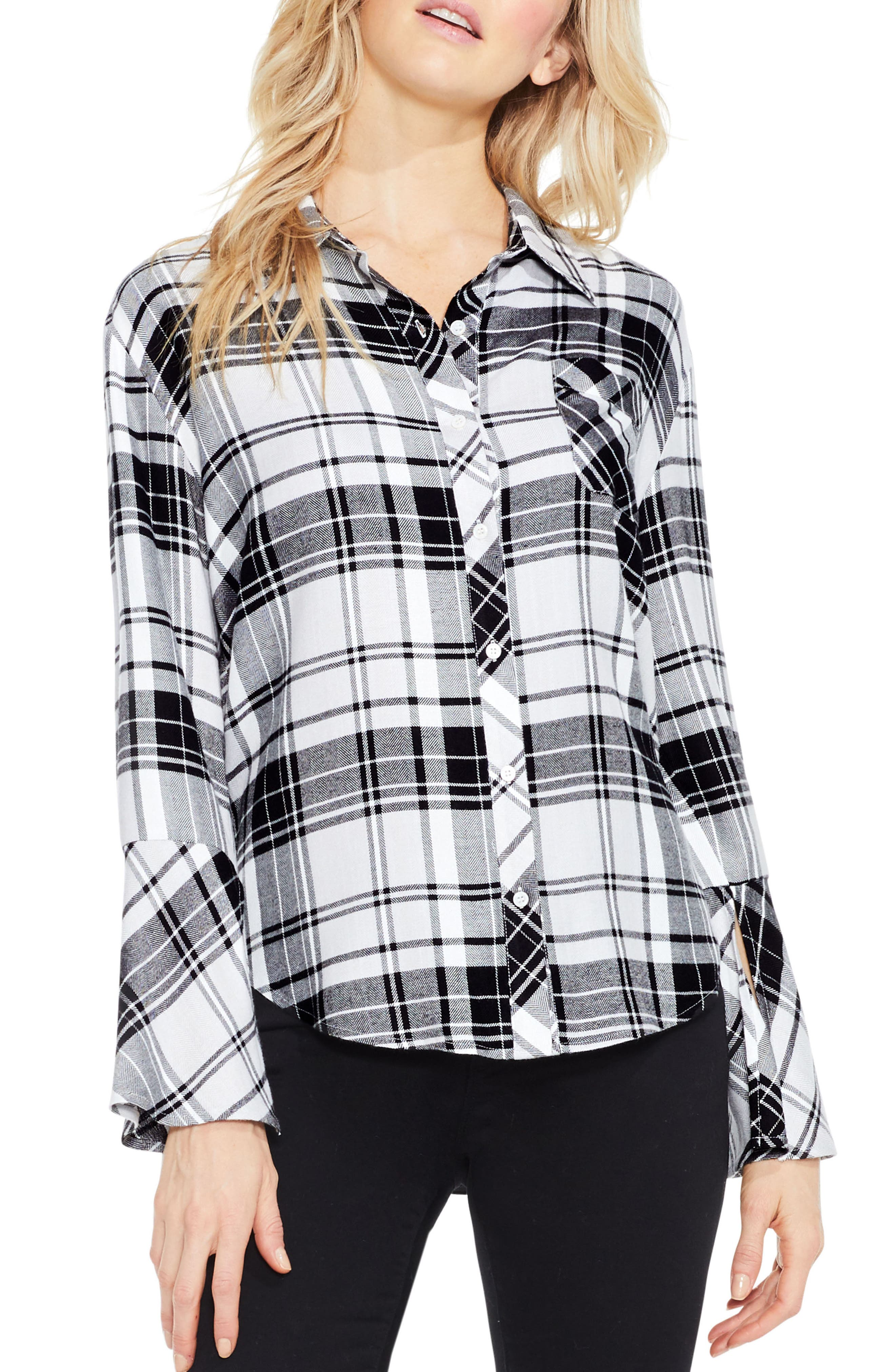 Plaid Bell Sleeve Shirt,                         Main,                         color, Rich Black