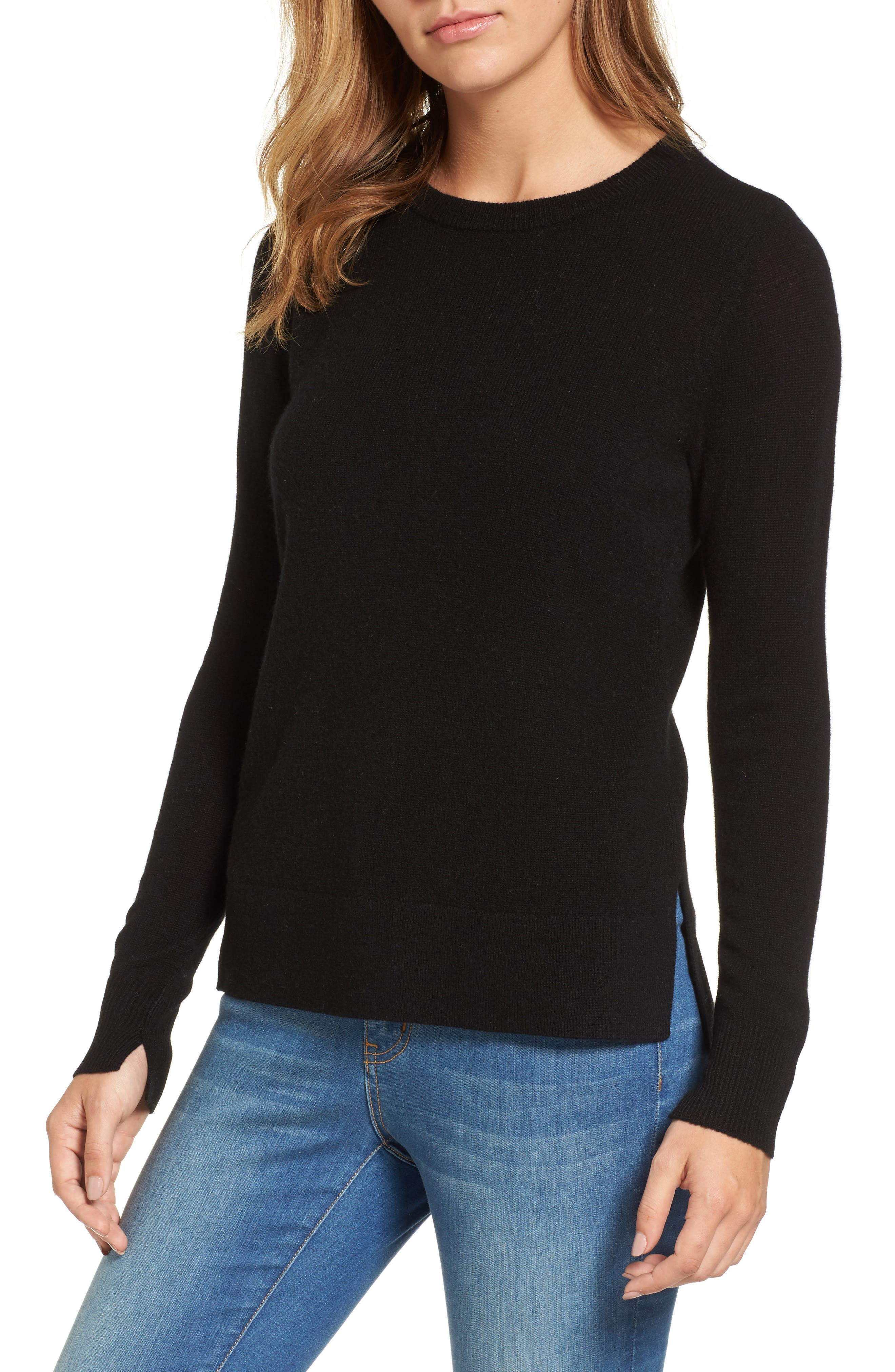 Halogen® Crewneck Cashmere Sweater (Regular & Petite)