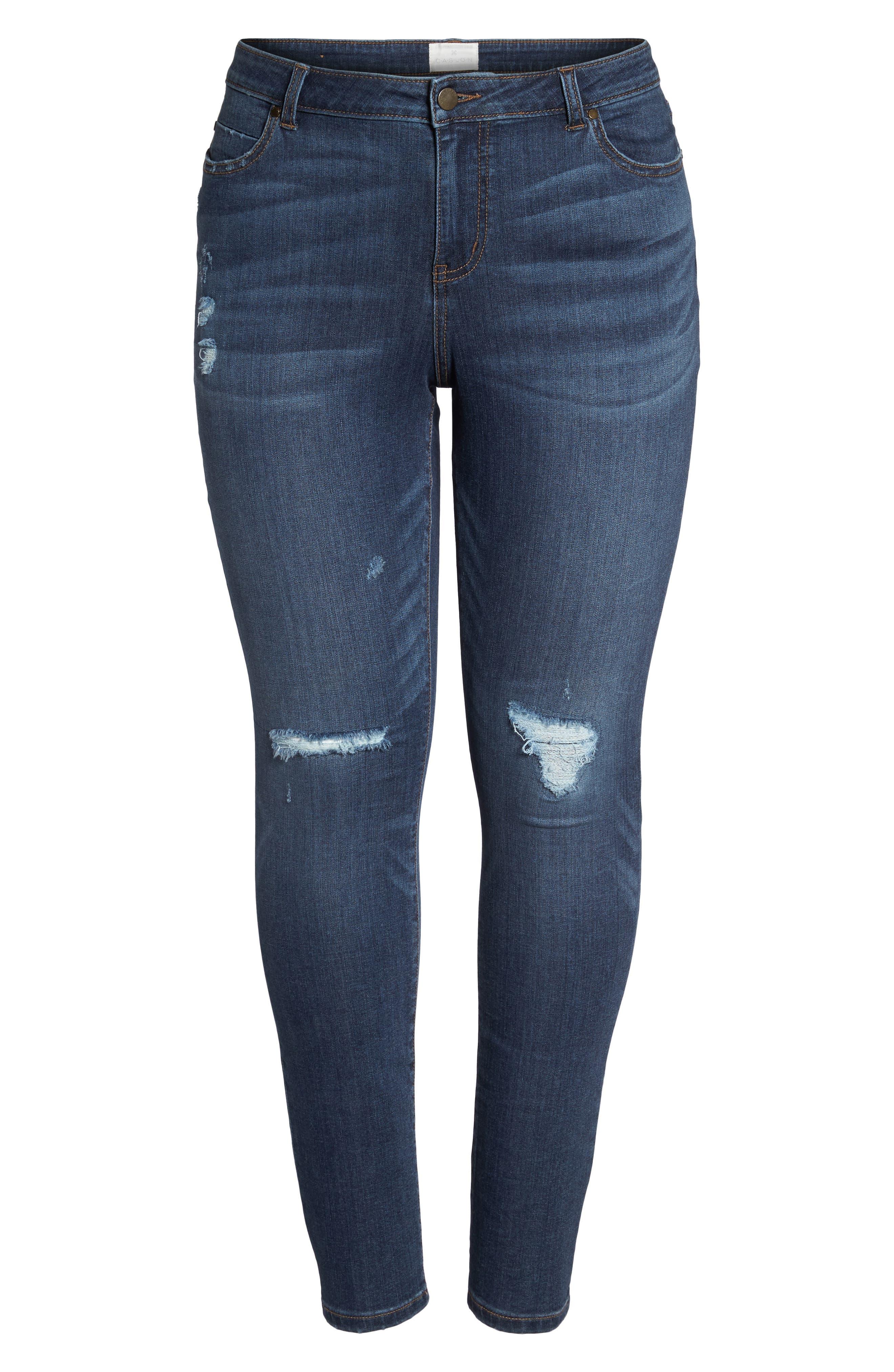 Rip Repair Skinny Jeans,                             Alternate thumbnail 7, color,                             Blue Octavia Wash