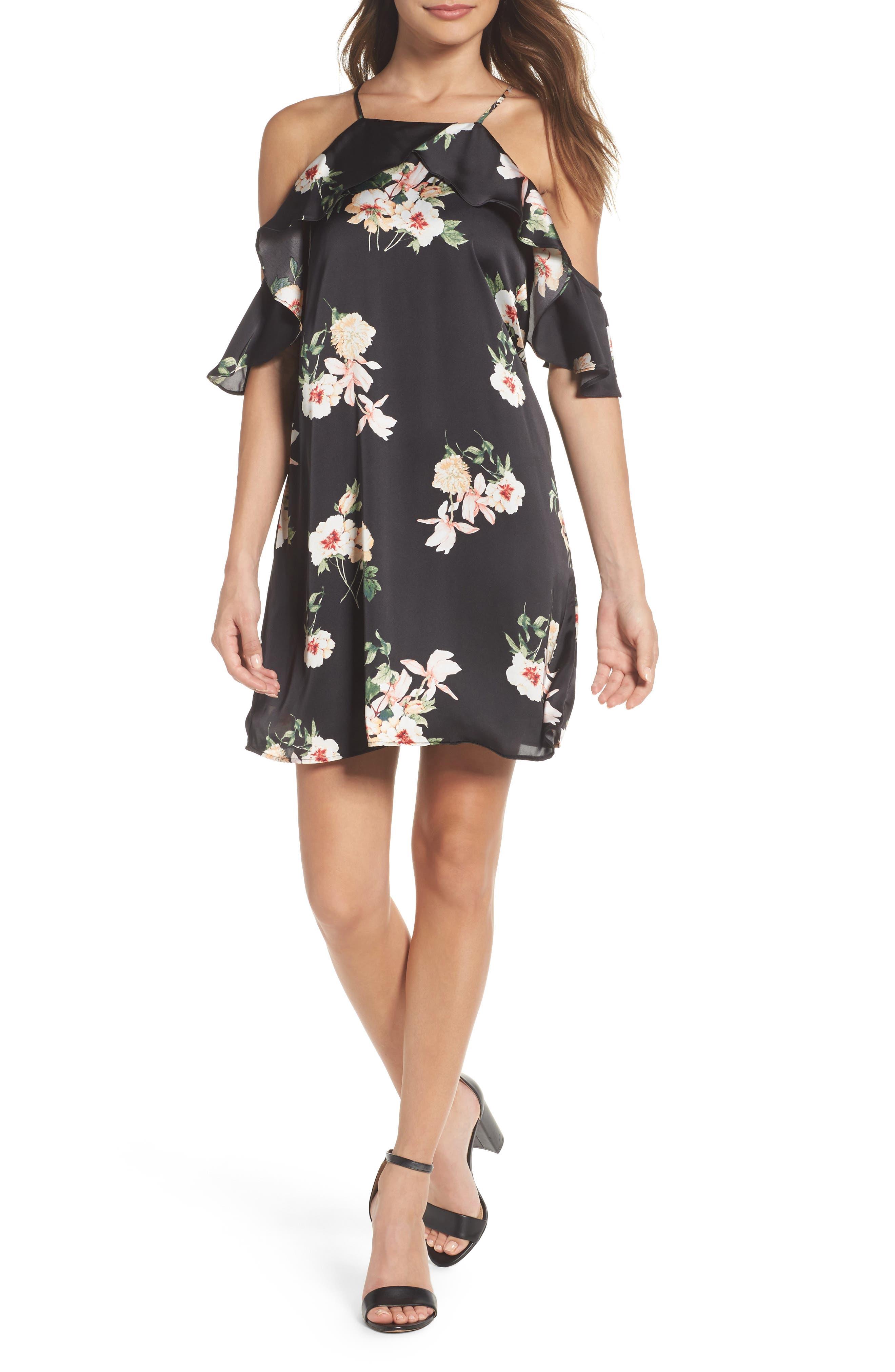 Cold Shoulder Dress,                         Main,                         color, Black Floral