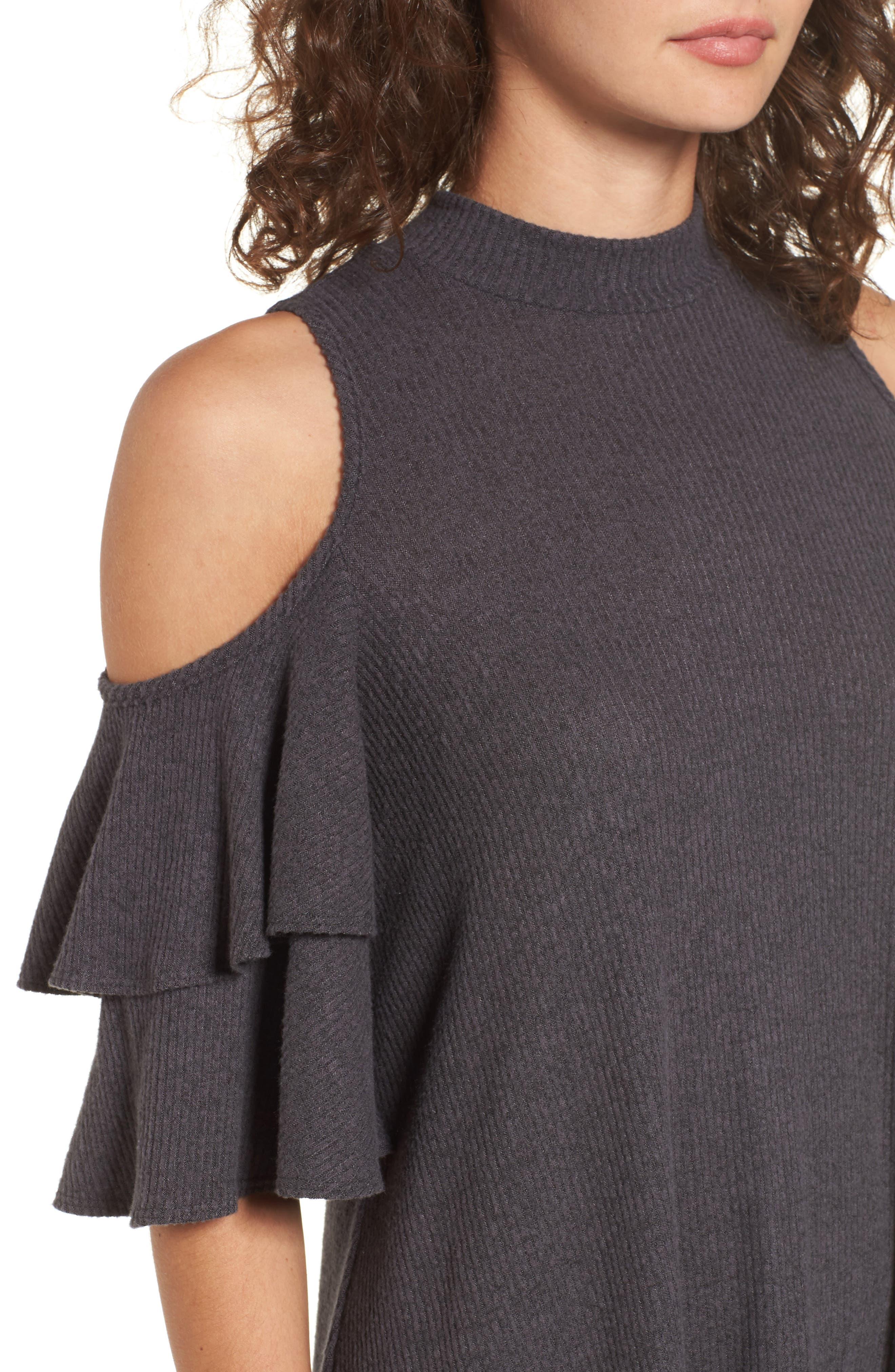 Ruffle Cold Shoulder Shift Dress,                             Alternate thumbnail 4, color,                             Charcoal