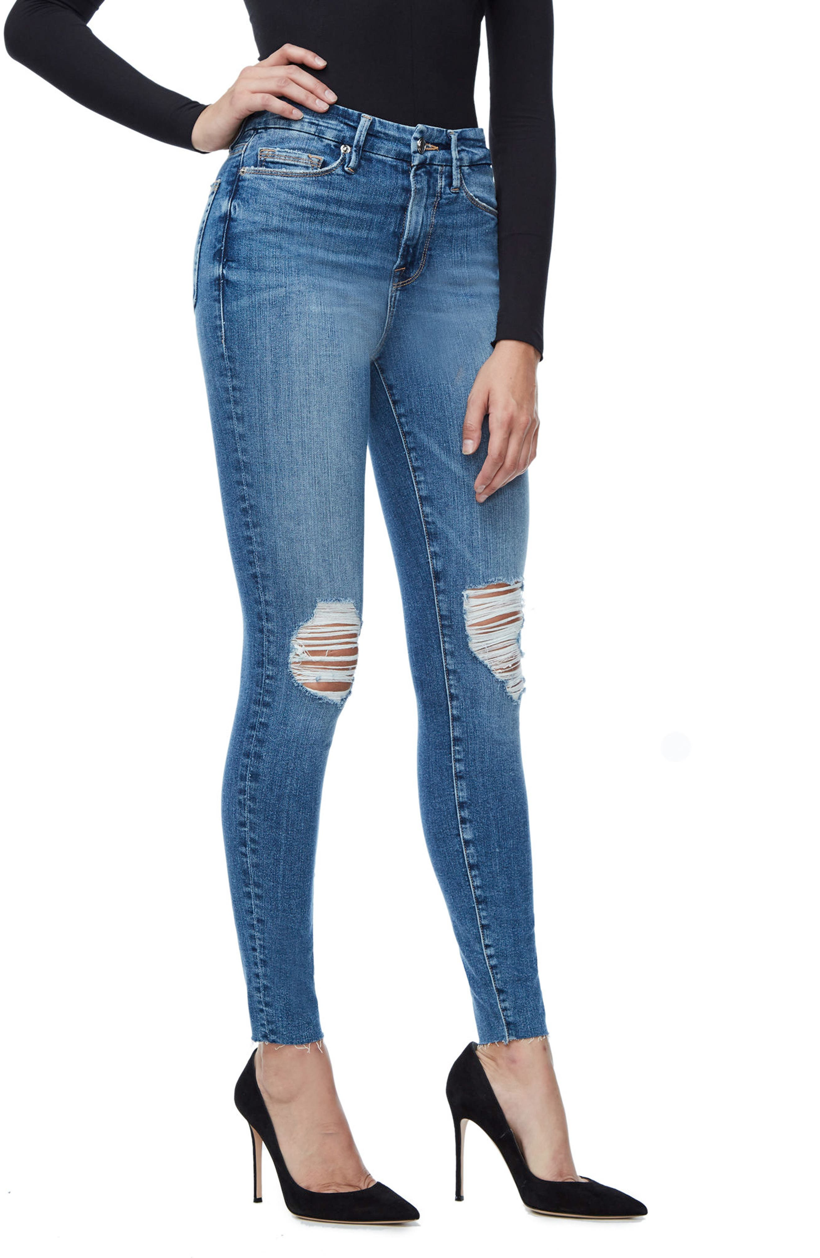 Alternate Image 3  - Good American Good Waist Raw Edge Skinny Jeans (Blue 092) (Extended Sizes)