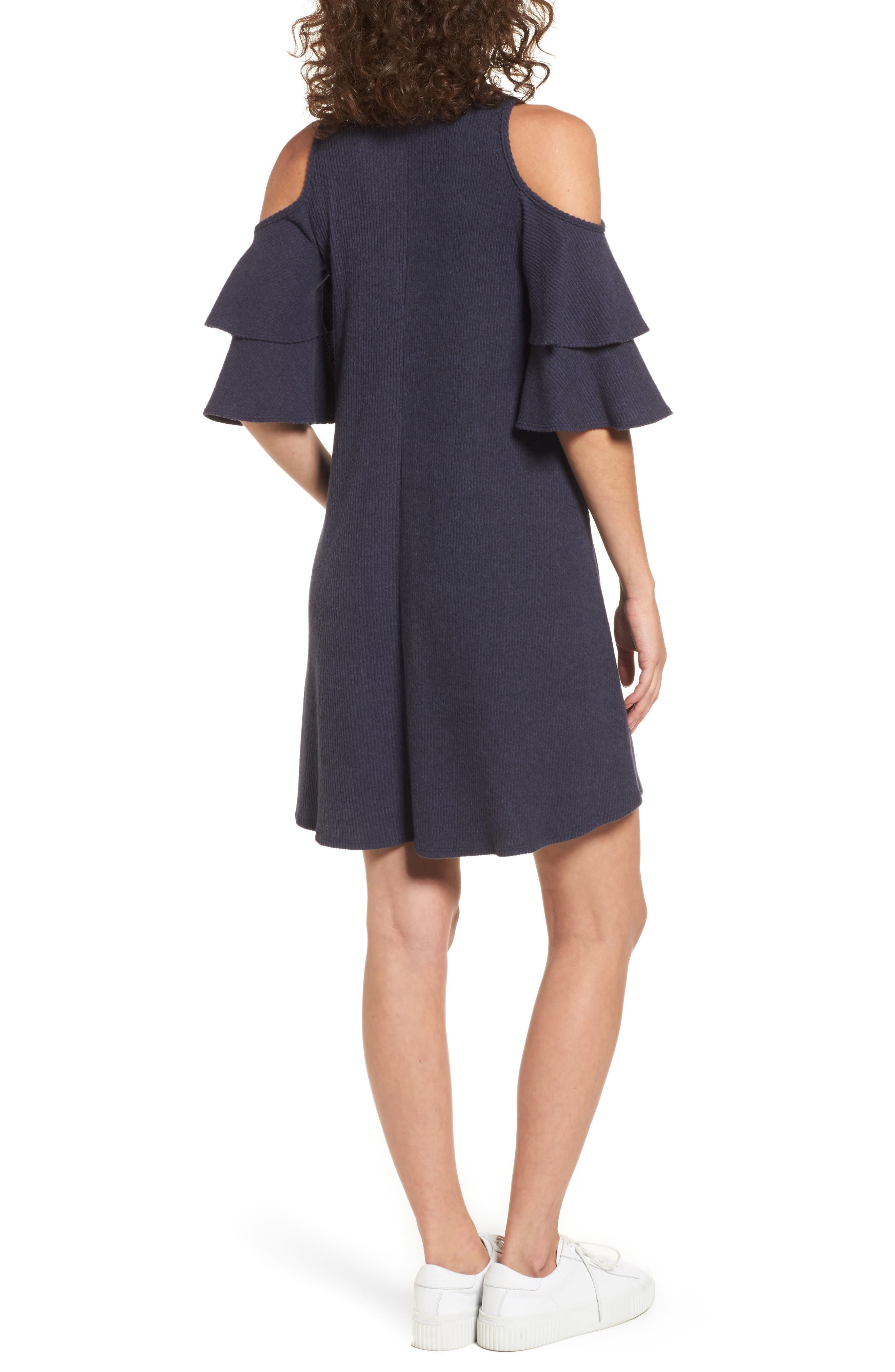 Alternate Image 2  - Soprano Ruffle Cold Shoulder Shift Dress