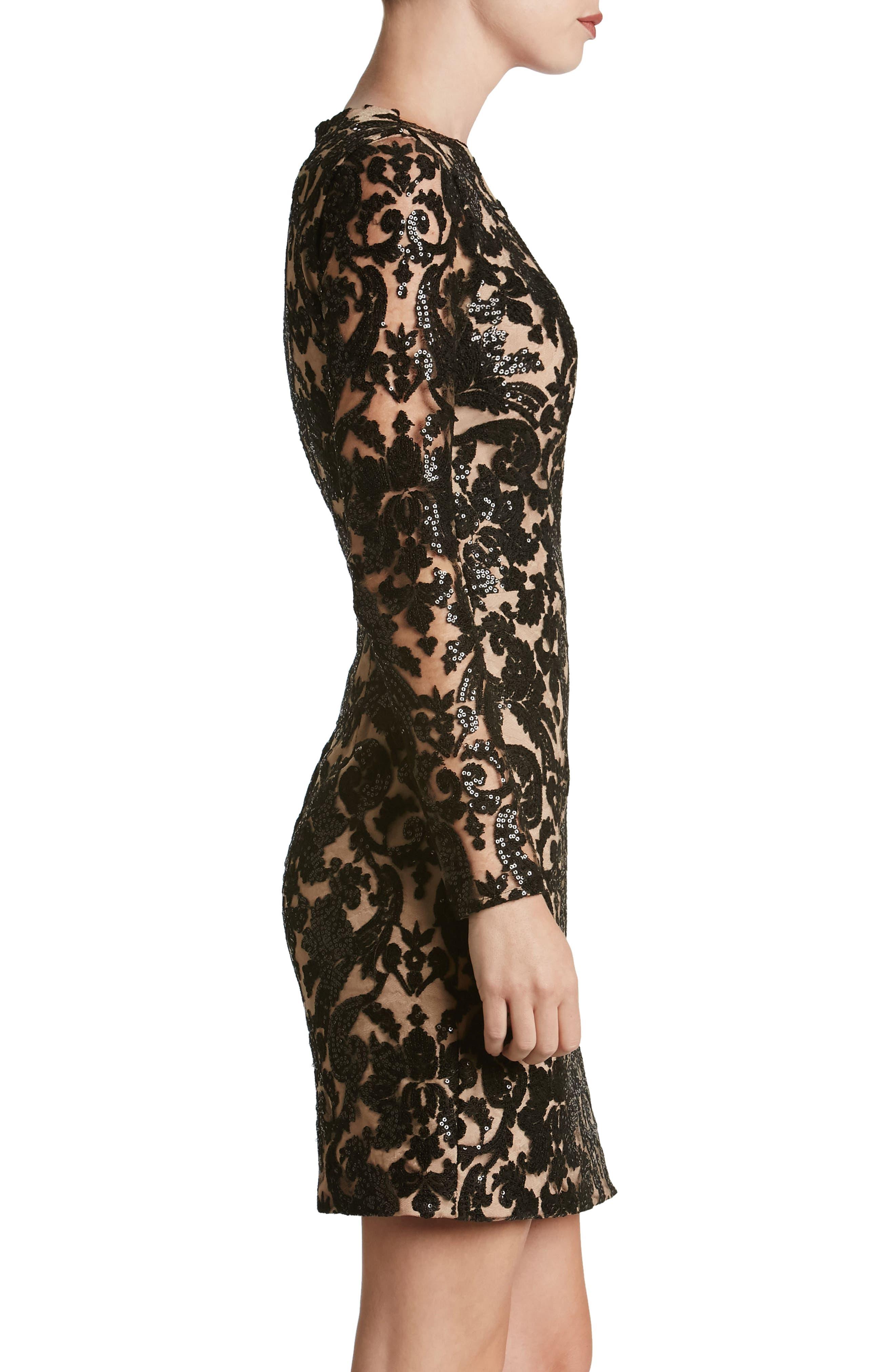 Alternate Image 4  - Dress the Population Claudia Plunging Illusion Sequin Lace Minidress (Nordstrom Exclusive)