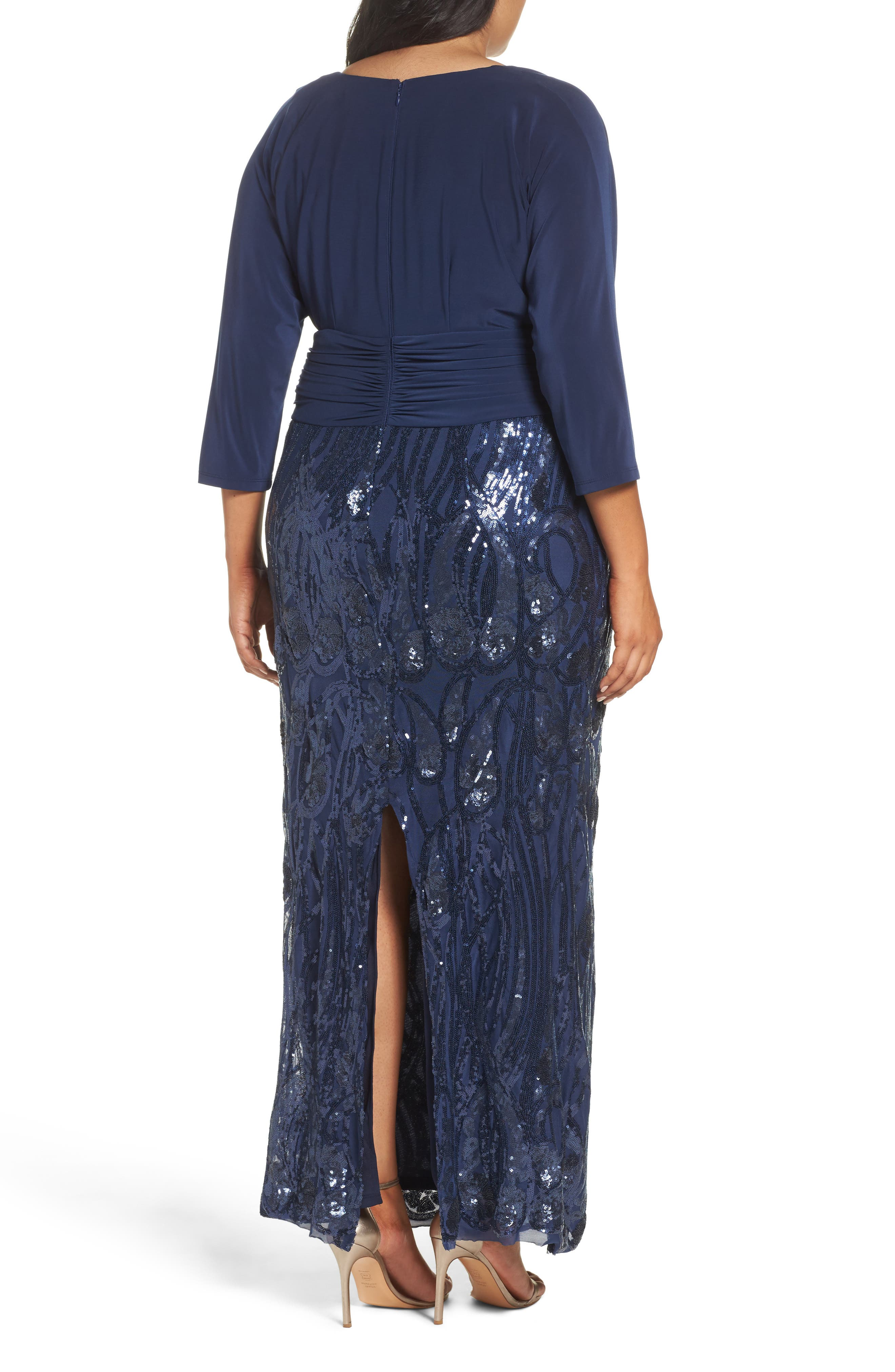 Embellished Shirred Waist Gown,                             Alternate thumbnail 2, color,                             Navy