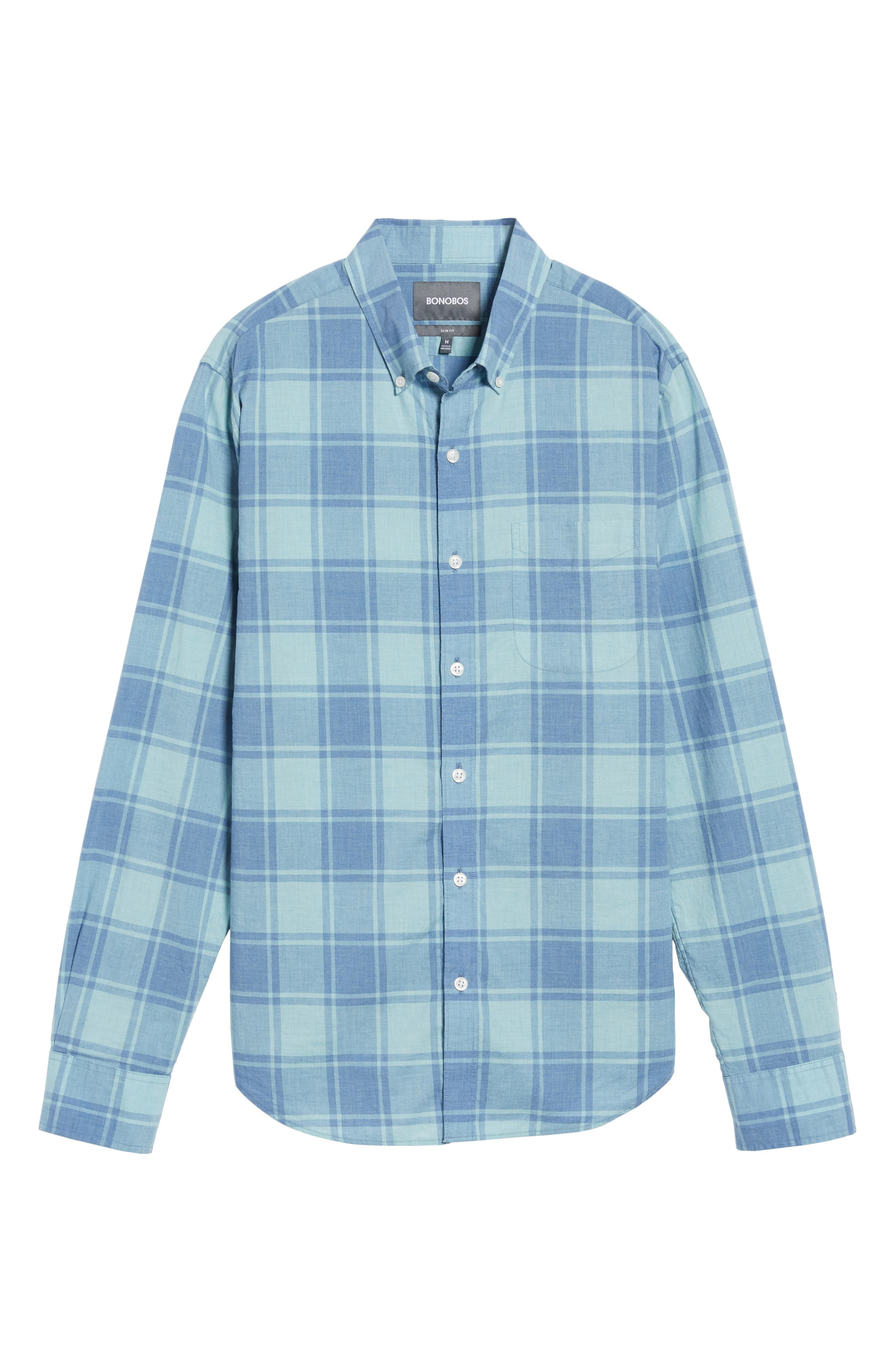 Summerweight Slim Cut Large Check Sport Shirt,                             Alternate thumbnail 6, color,                             Heather Blue Plaid