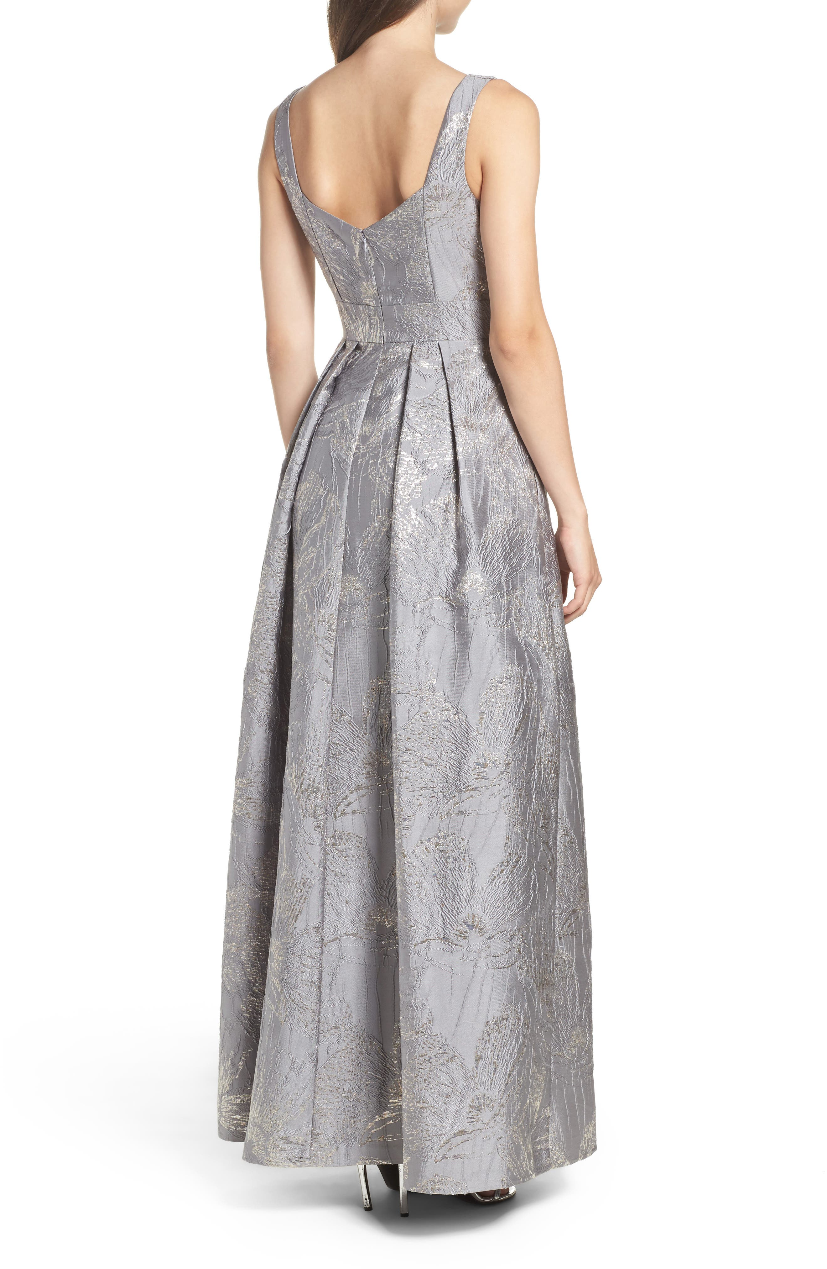 Embellished Brocade Ballgown,                             Alternate thumbnail 2, color,                             Silver