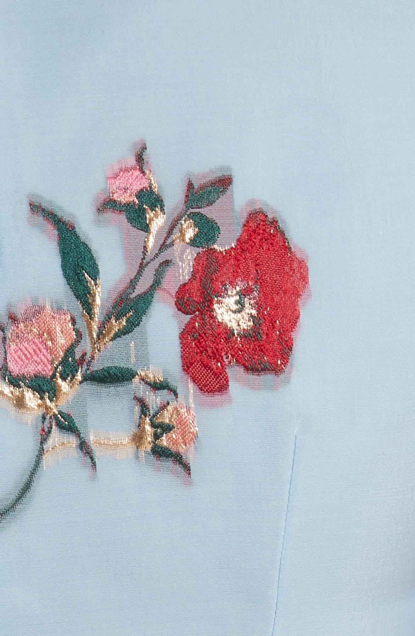 Alternate Image 5  - Carolina Herrera Embroidered Floral Fit & Flare Dress