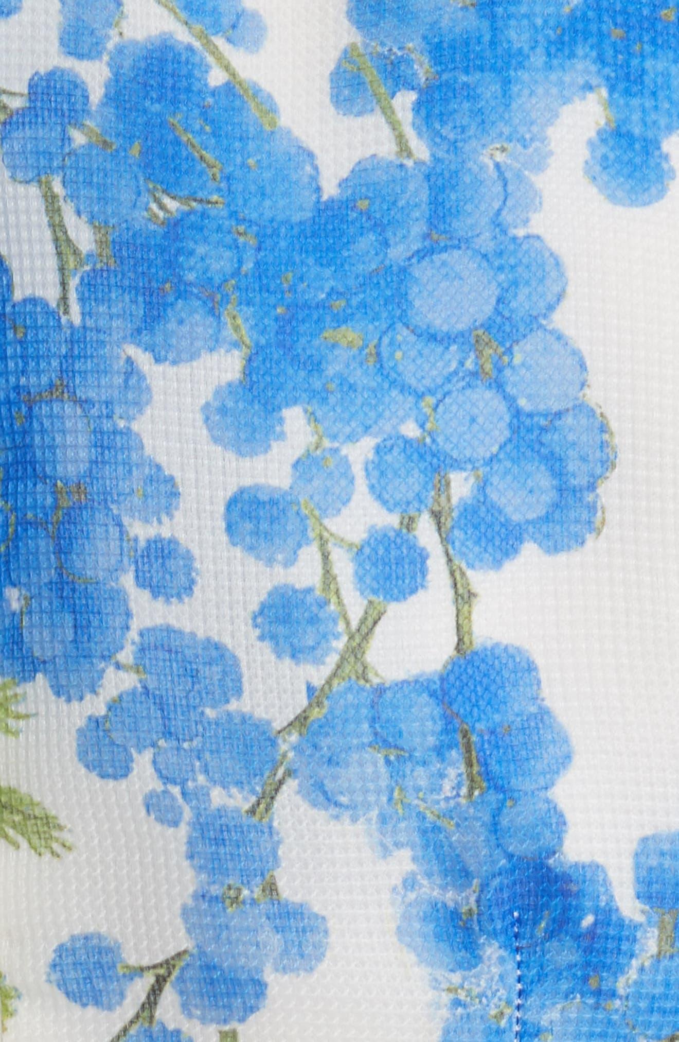 Floral Fit & Flare Dress,                             Alternate thumbnail 6, color,                             Colbalt/White