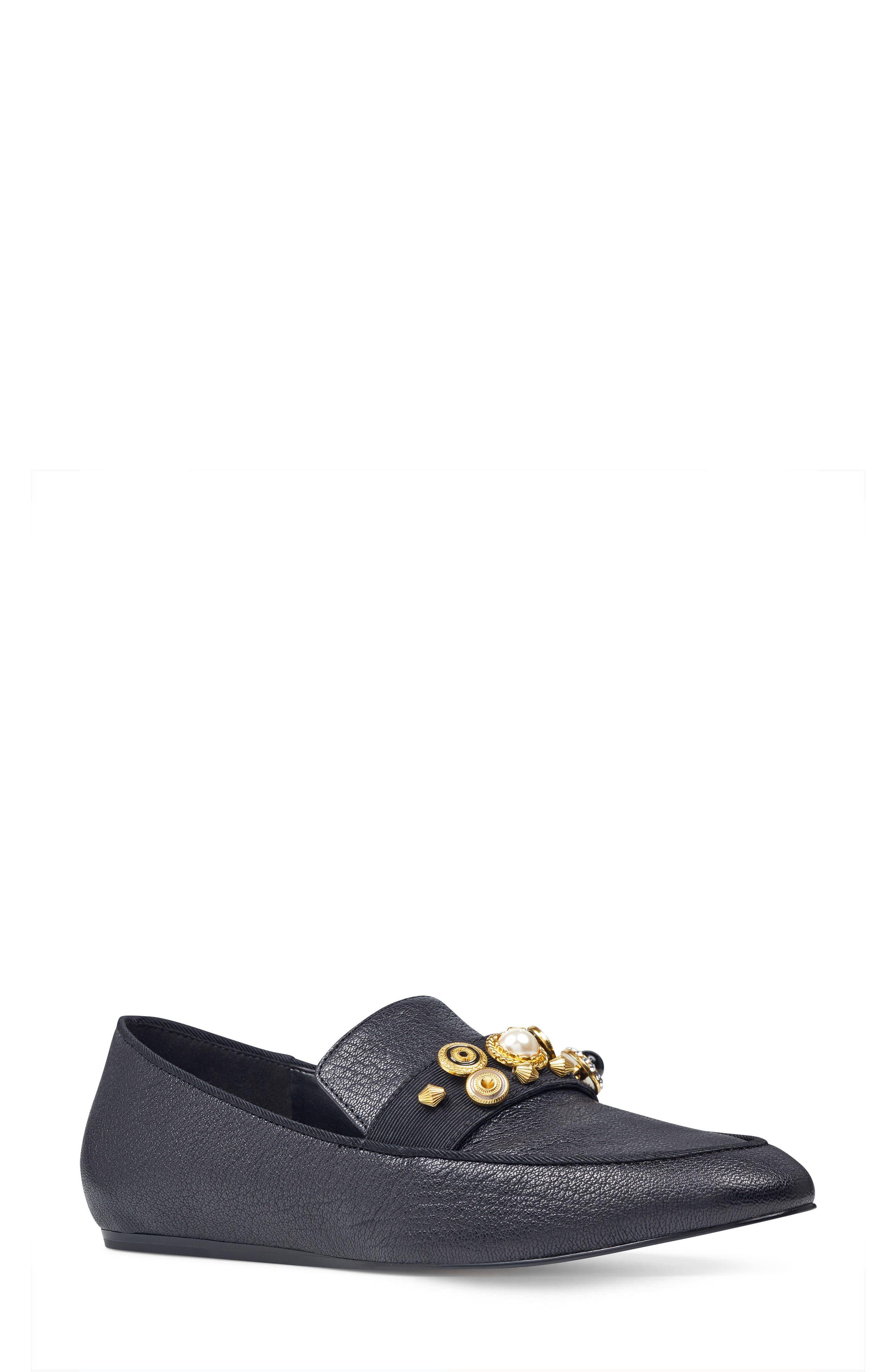 Baus Loafer Flat,                         Main,                         color, Black/ Black Leather