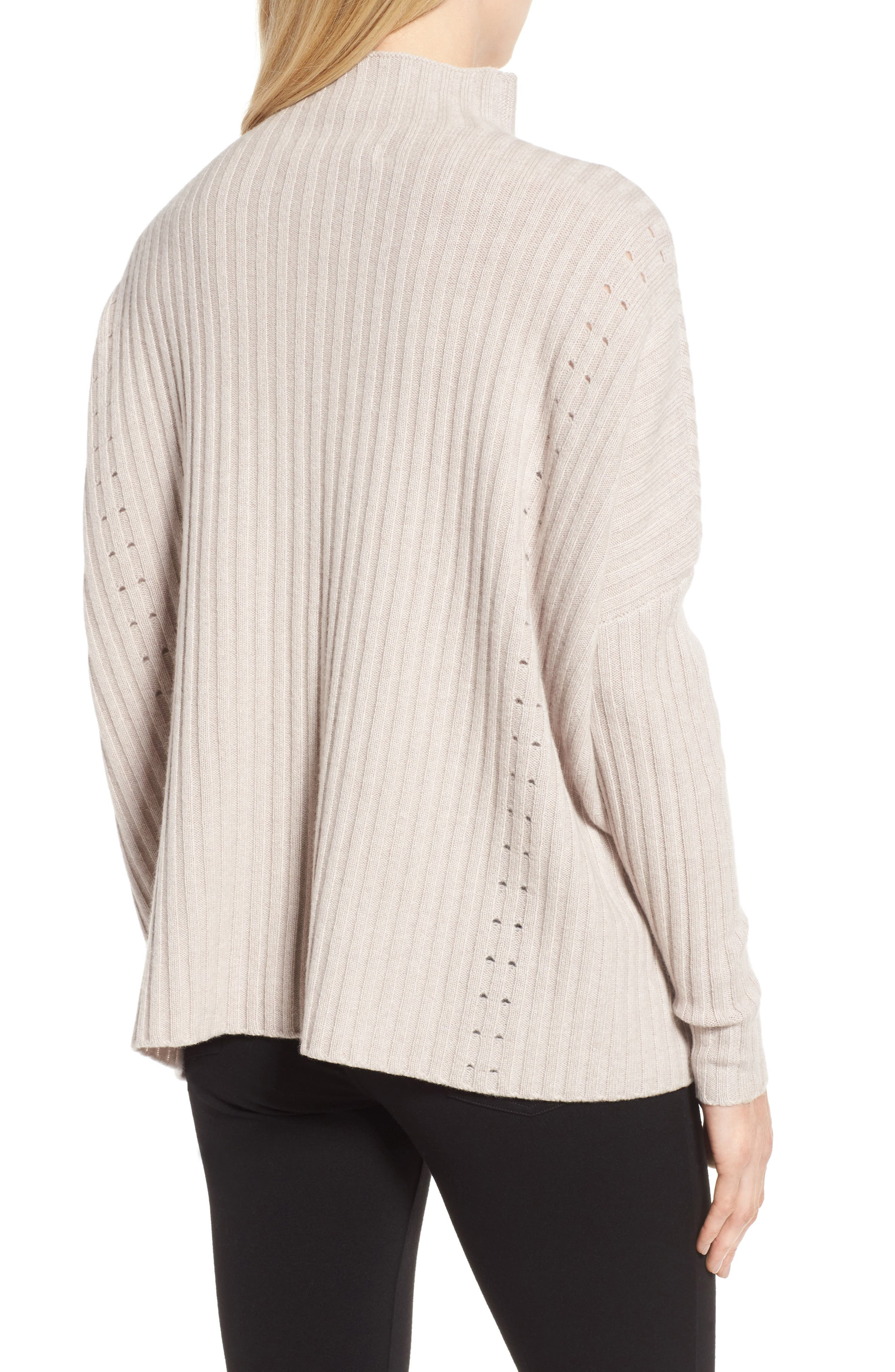 Boxy Ribbed Cashmere Sweater,                             Alternate thumbnail 2, color,                             Beige Pumice Heather