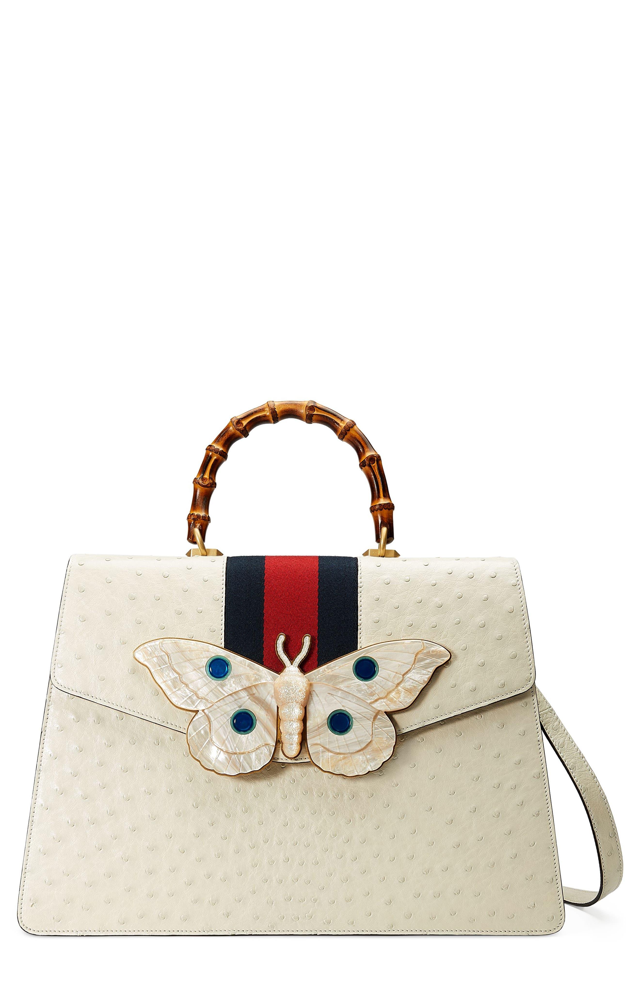 Gucci Falena Moth Ostrich Leather Satchel