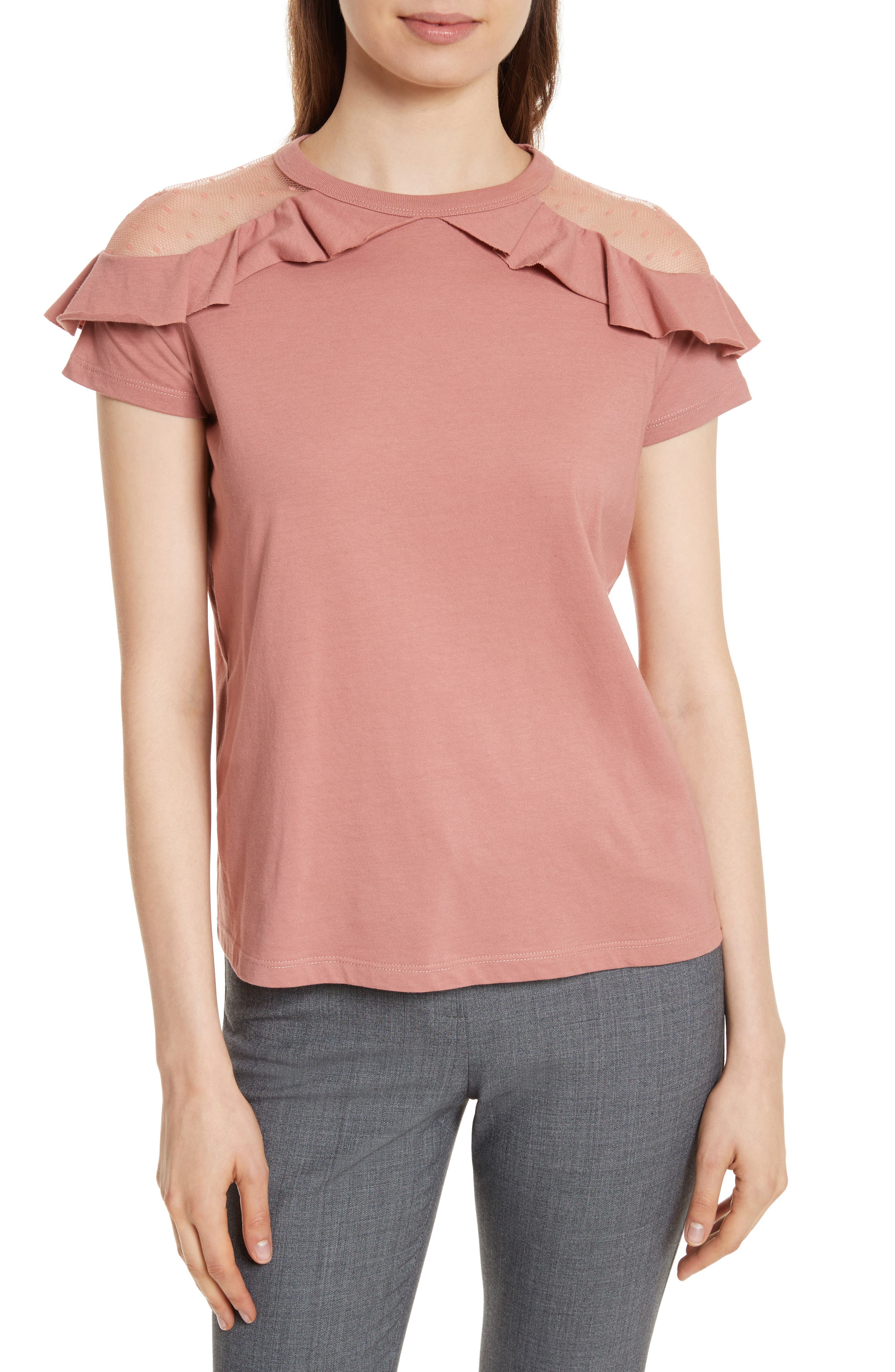 Main Image - RED Valentino Point d'Esprit & Jersey Top