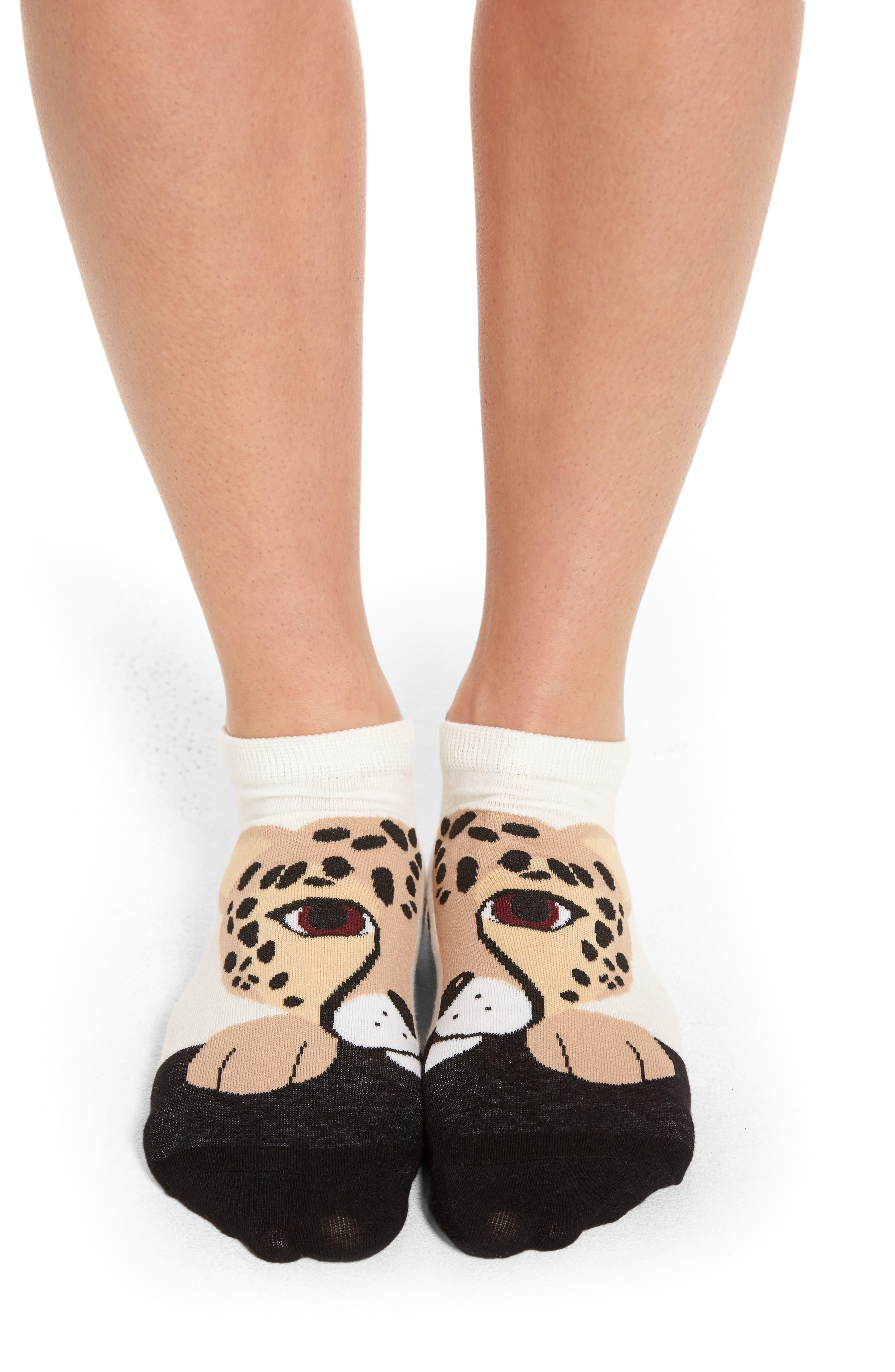 cheetah no-show socks,                         Main,                         color, Cream