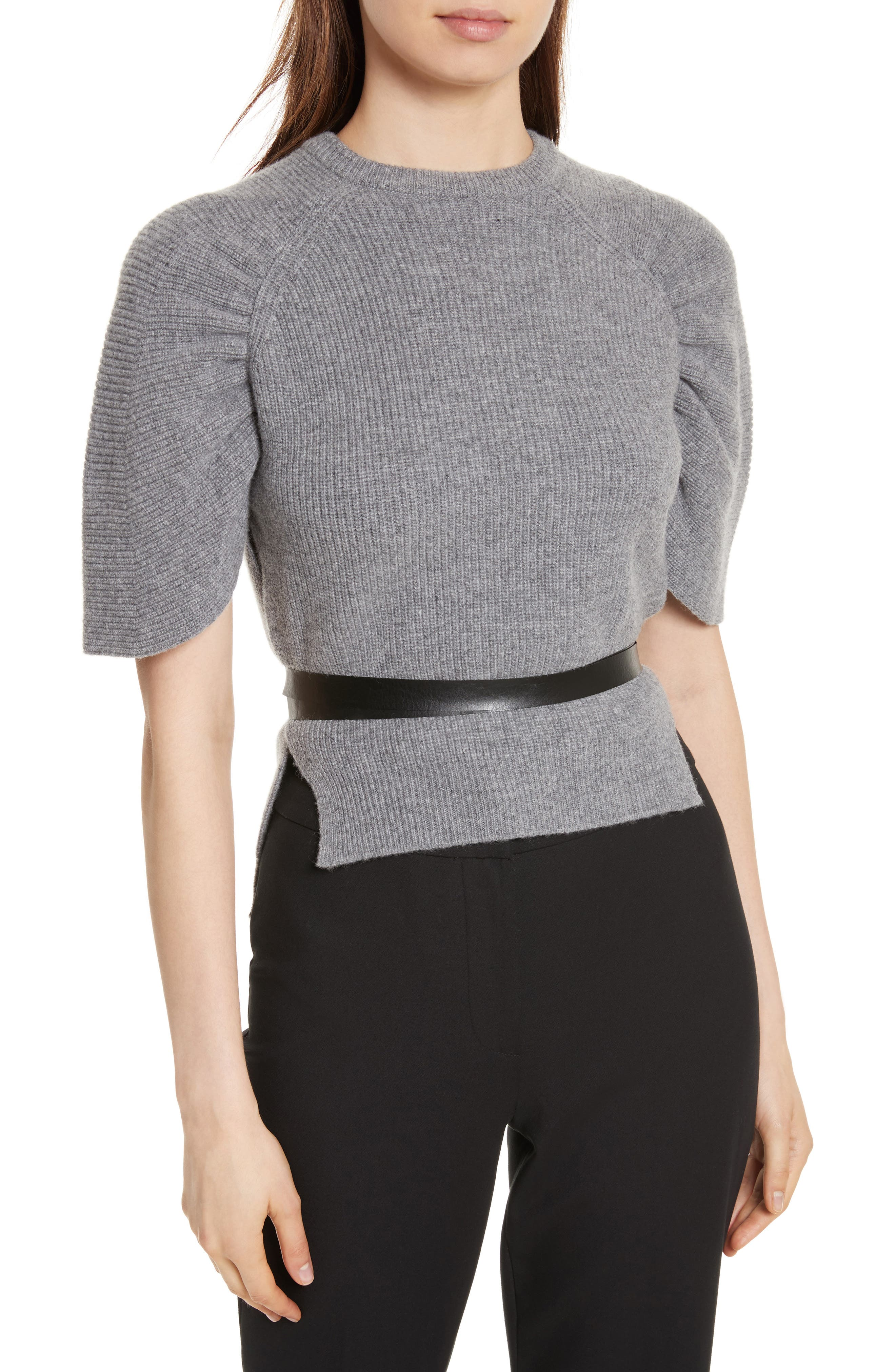 Belted Carded Wool Sweater,                         Main,                         color, Ardesia