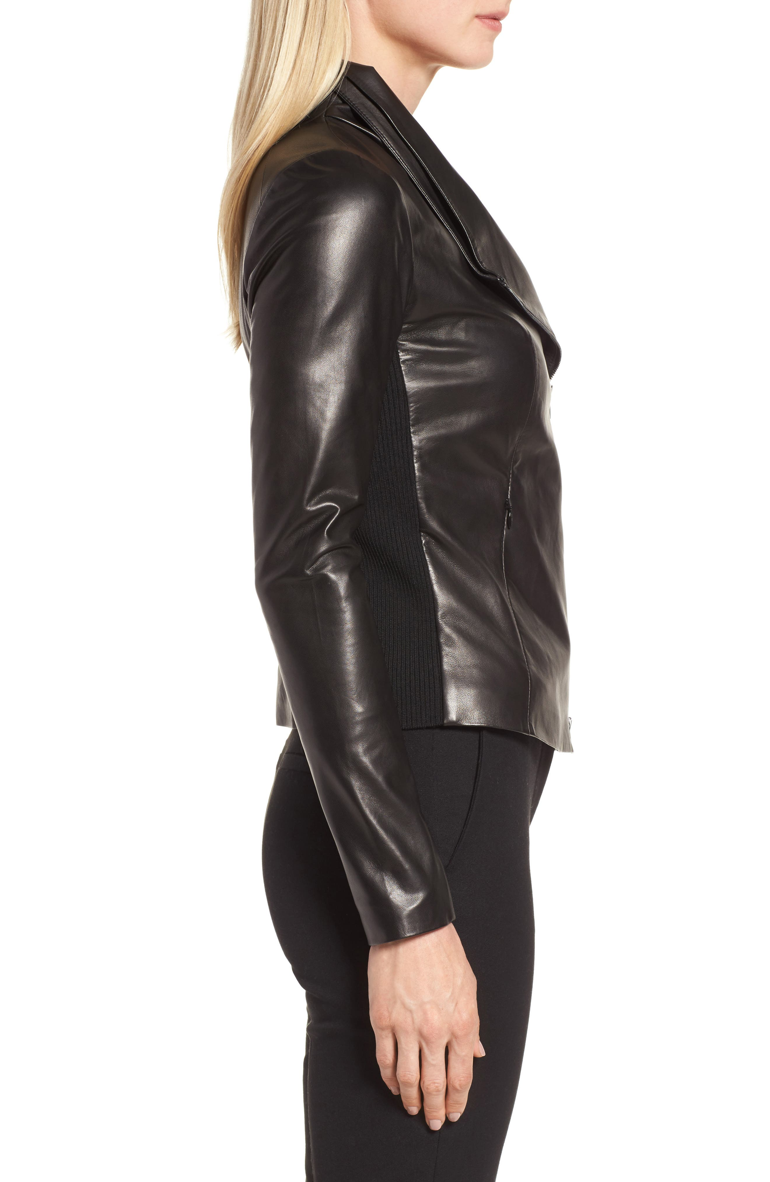 Stand Collar Leather Jacket,                             Alternate thumbnail 3, color,                             Black
