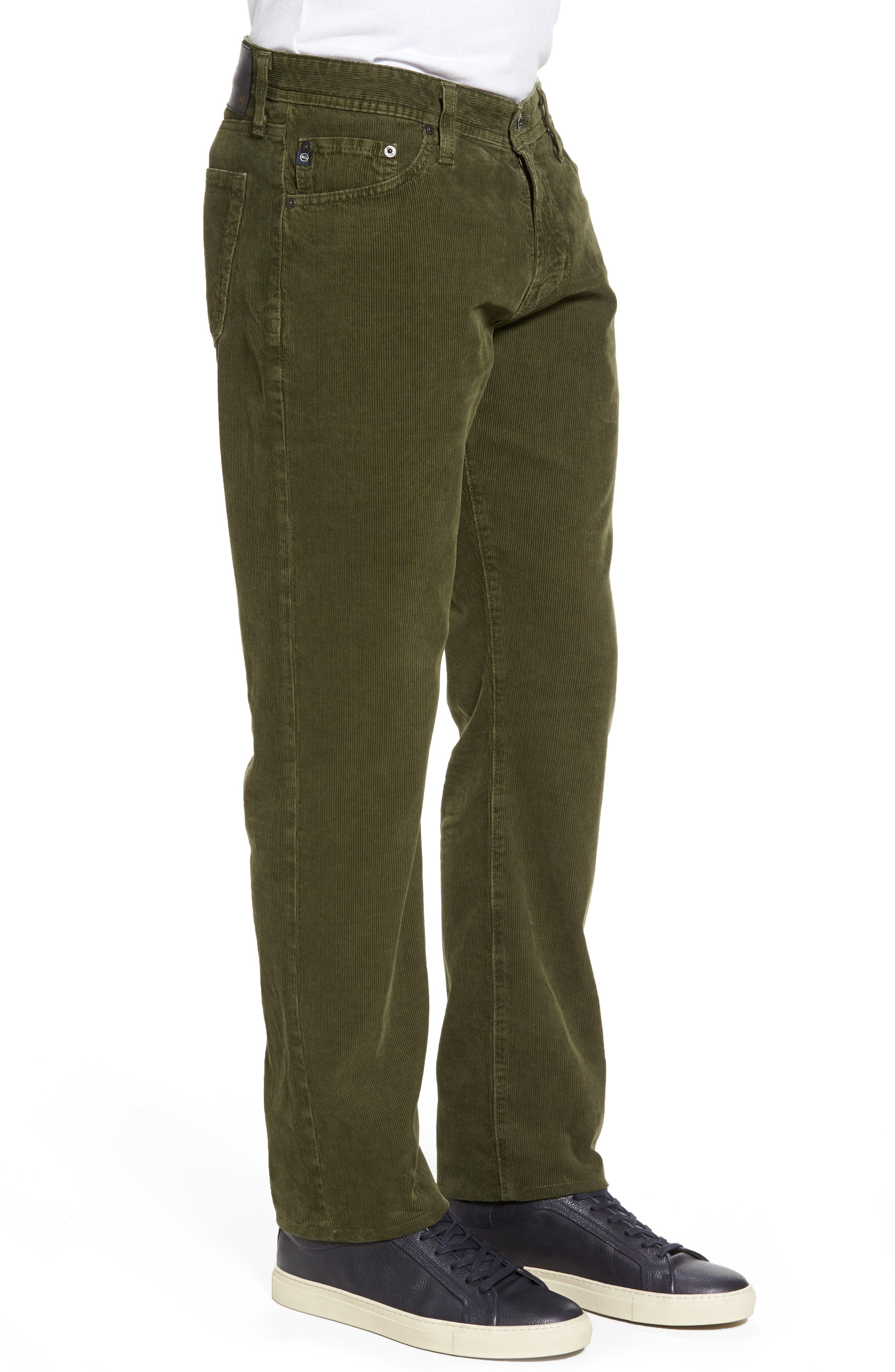 'Graduate' Tailored Straight Leg Corduroy Pants,                             Alternate thumbnail 3, color,                             Sulfur Climbing Ivy